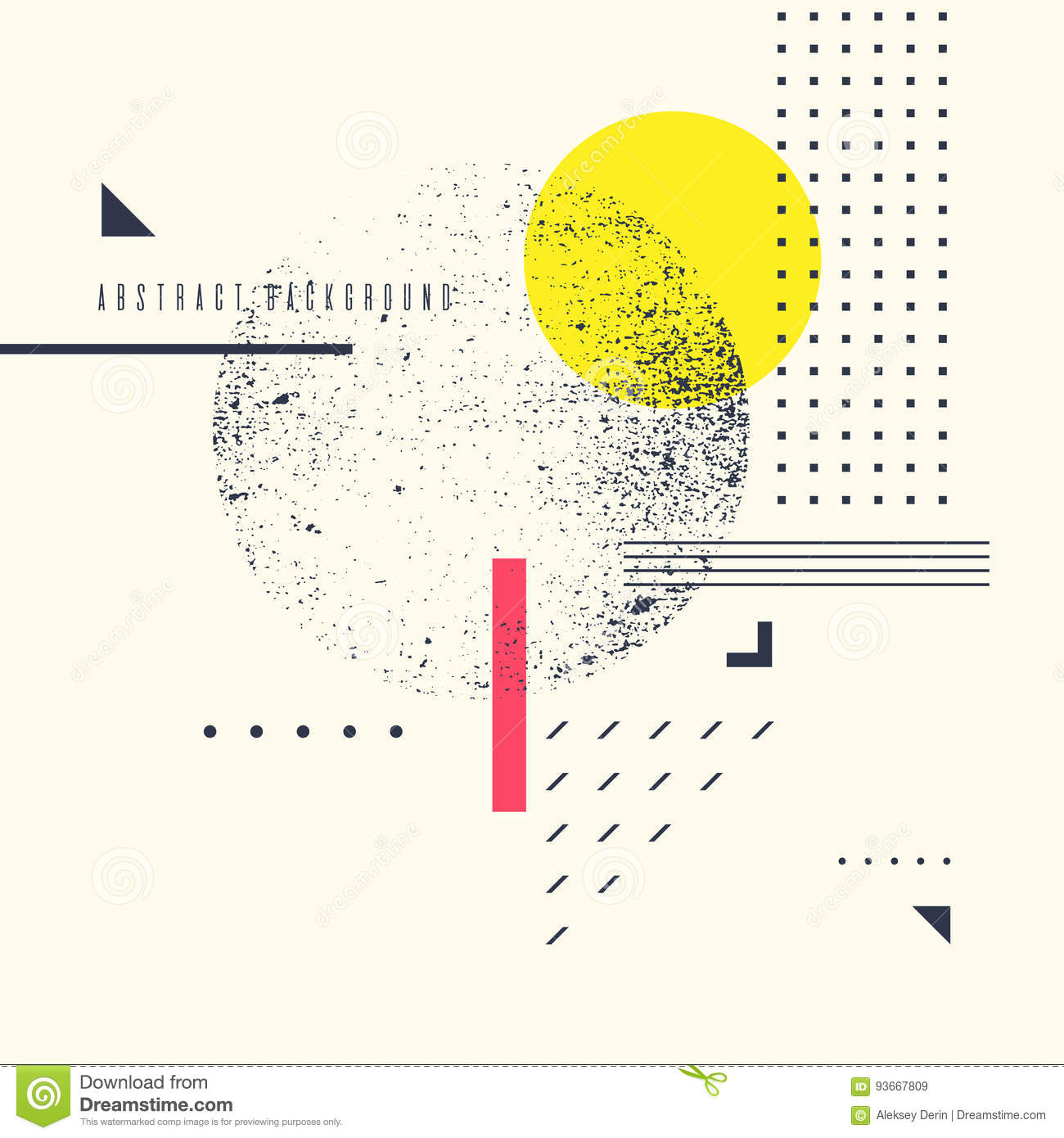 Retro abstract geometric background. The poster with the flat figures.