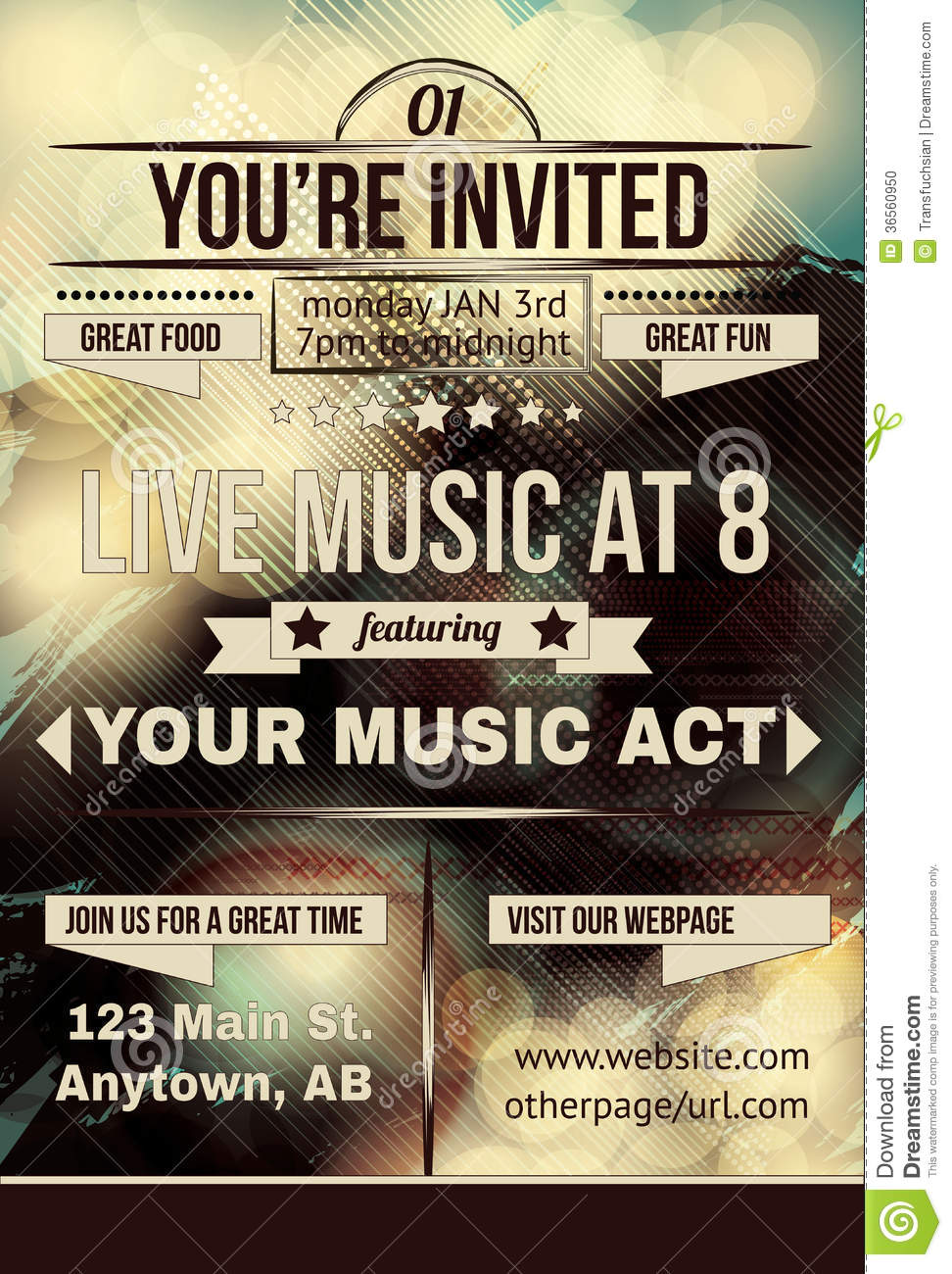 Retro Abstract Party Invitation Flyer Stock Photo - Image: 36560950
