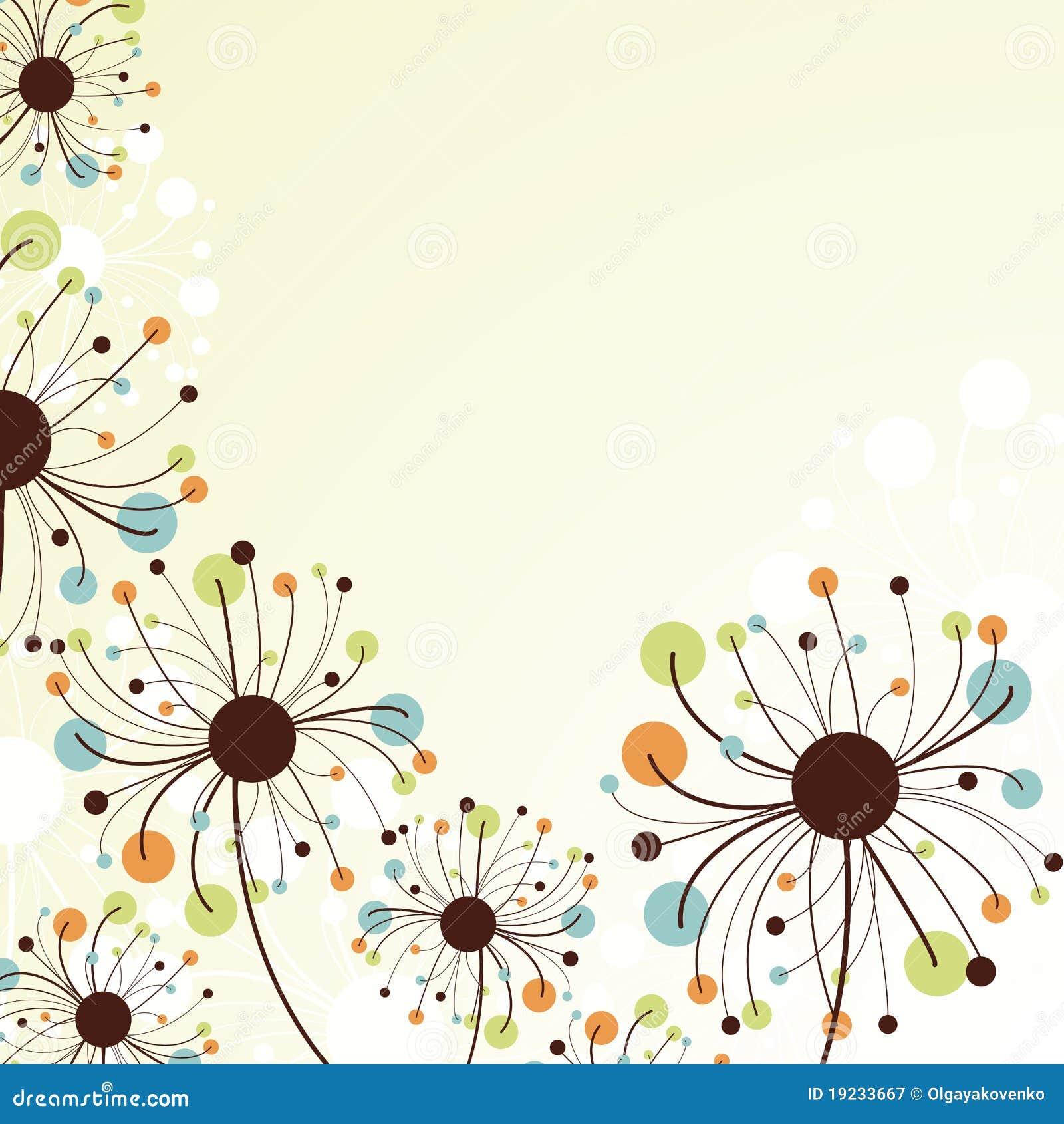 Retro- abstrakter Blumenhintergrund.