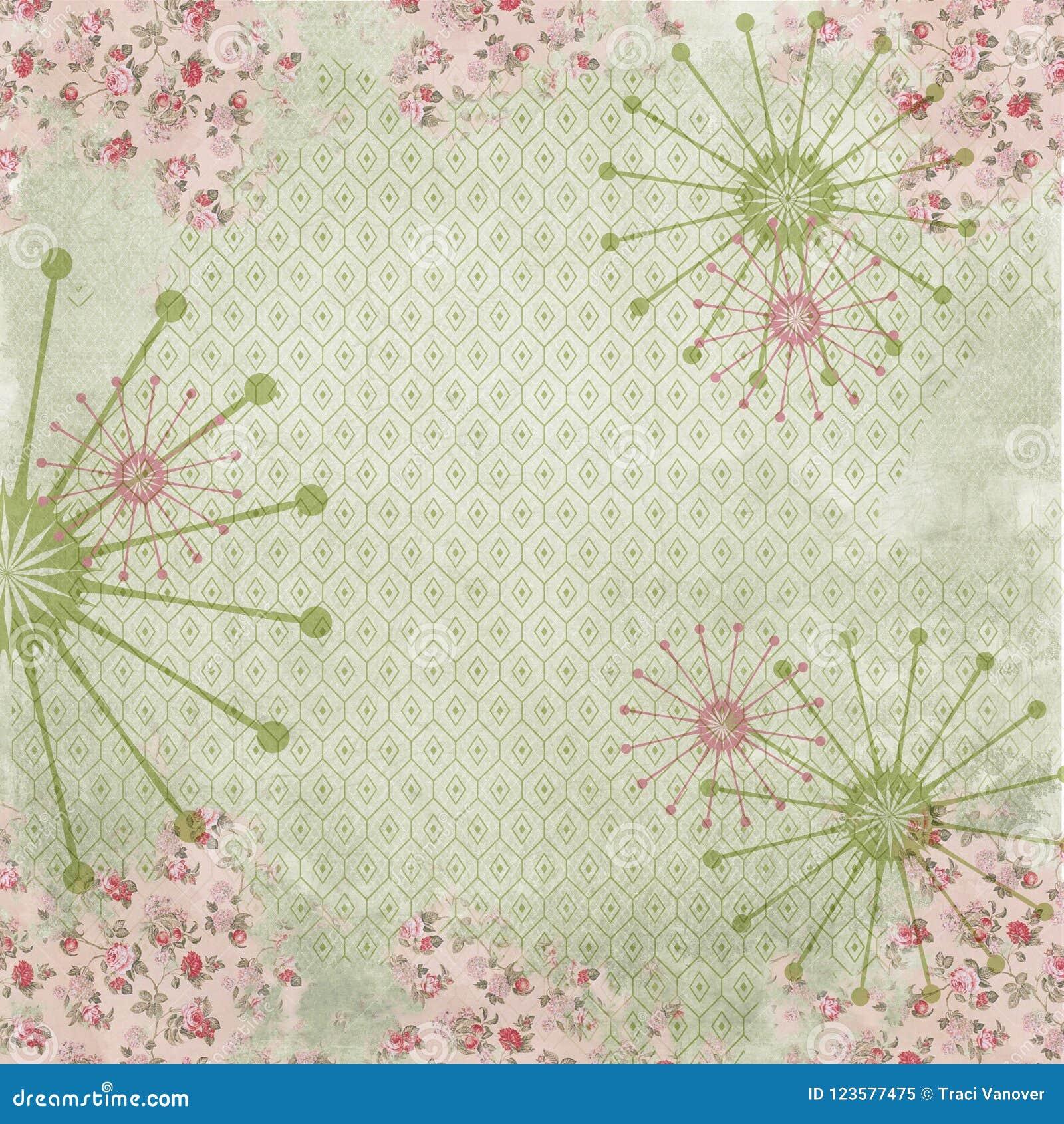 Retro Achtergrond van de Kitschcollage - Retro Bloemencollagedocument - Midden van de eeuwpatroon