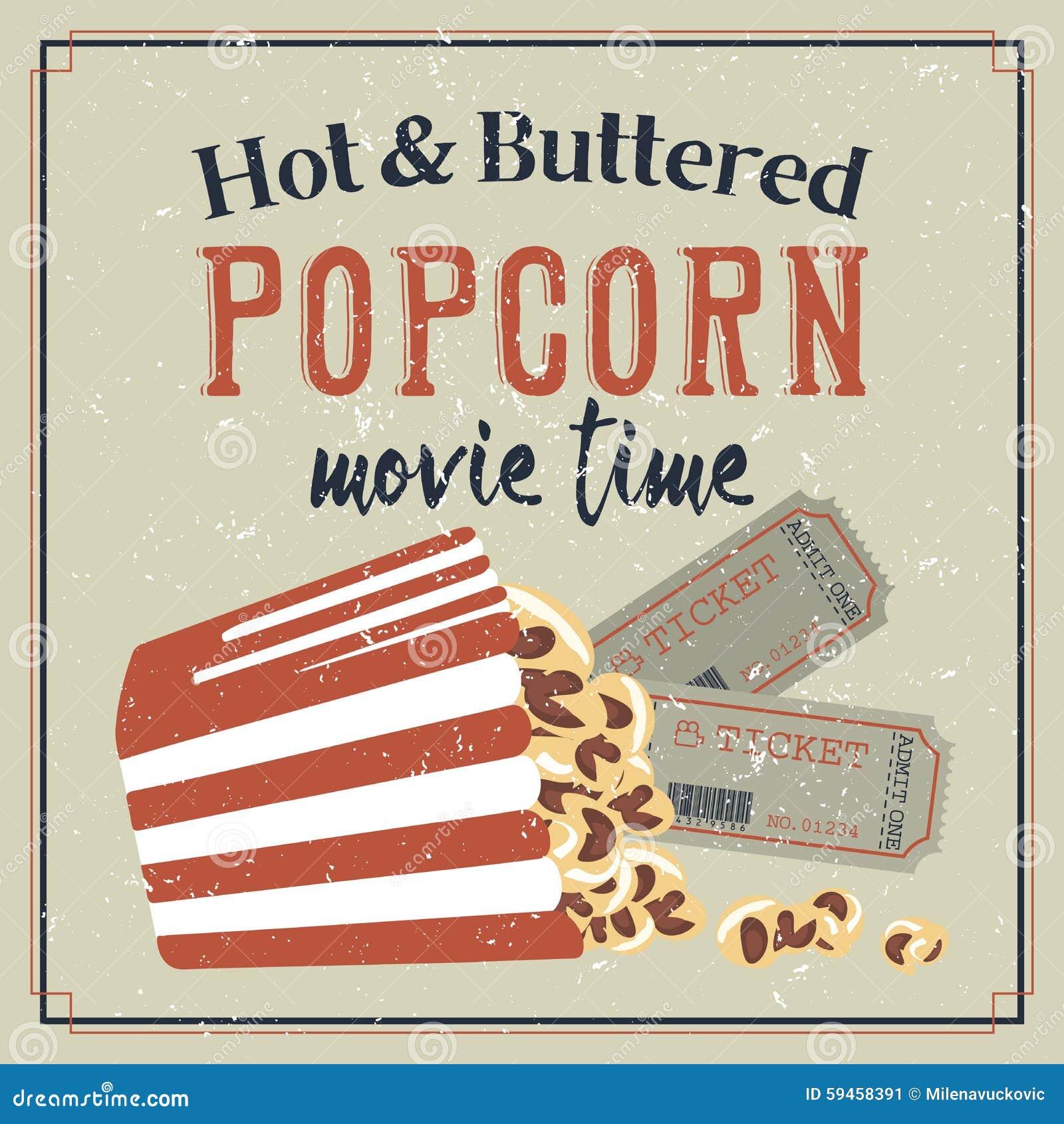 retro affiche met popcorn en filmkaartjes vector illustratie illustratie bestaande uit voedsel. Black Bedroom Furniture Sets. Home Design Ideas