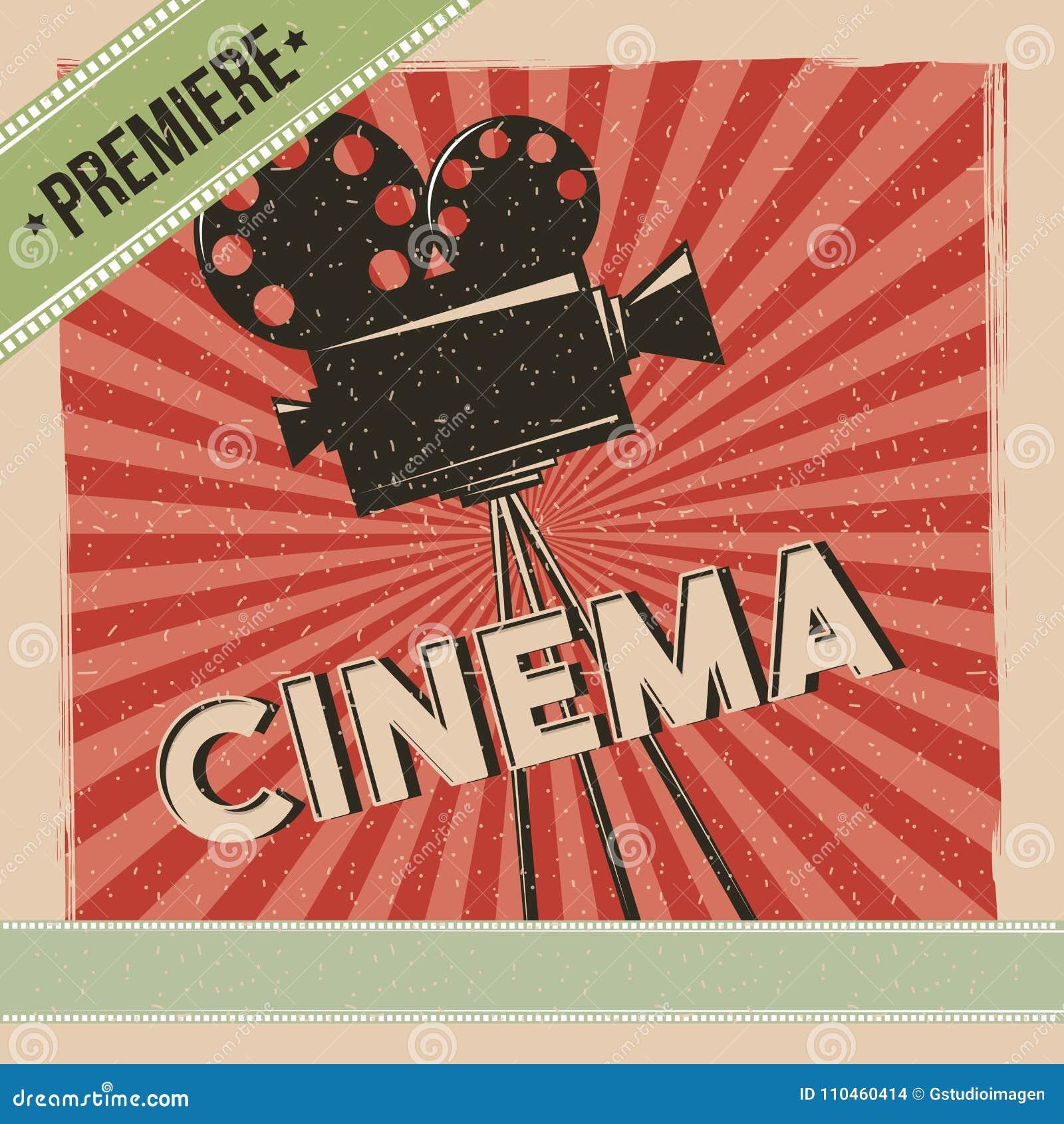 Retro affisch för biopremiärfilm