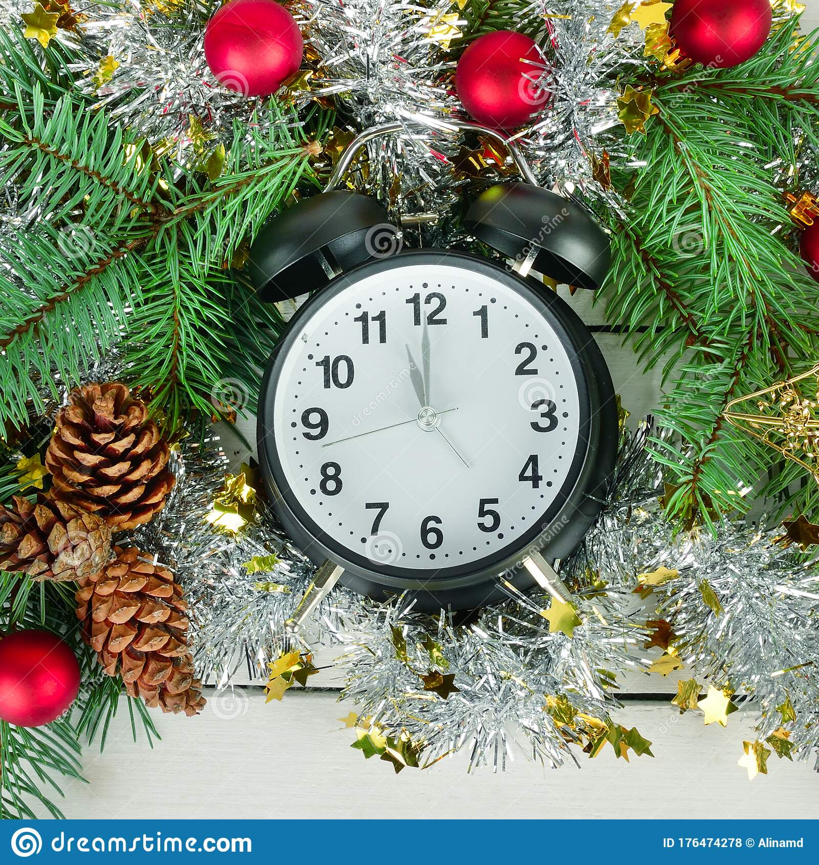 Retro Alarm Clock And Christmas Tree Decorations On A White Wooden Background Stock Photo Image Of Cones Branches 176474278