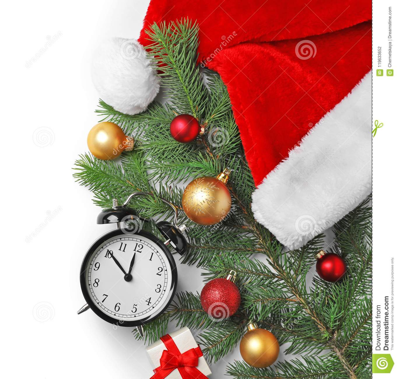 retro alarm clock and decor on white background top view christmas countdown