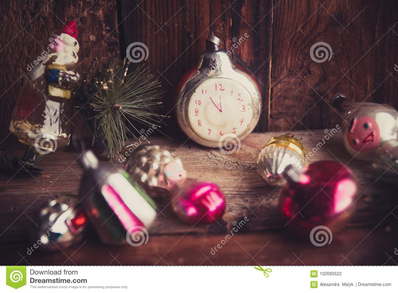 Old Fashioned Christmas Tree Decorations.Retro Alarm Clock Vintage Leather Suitcases Old Fashioned