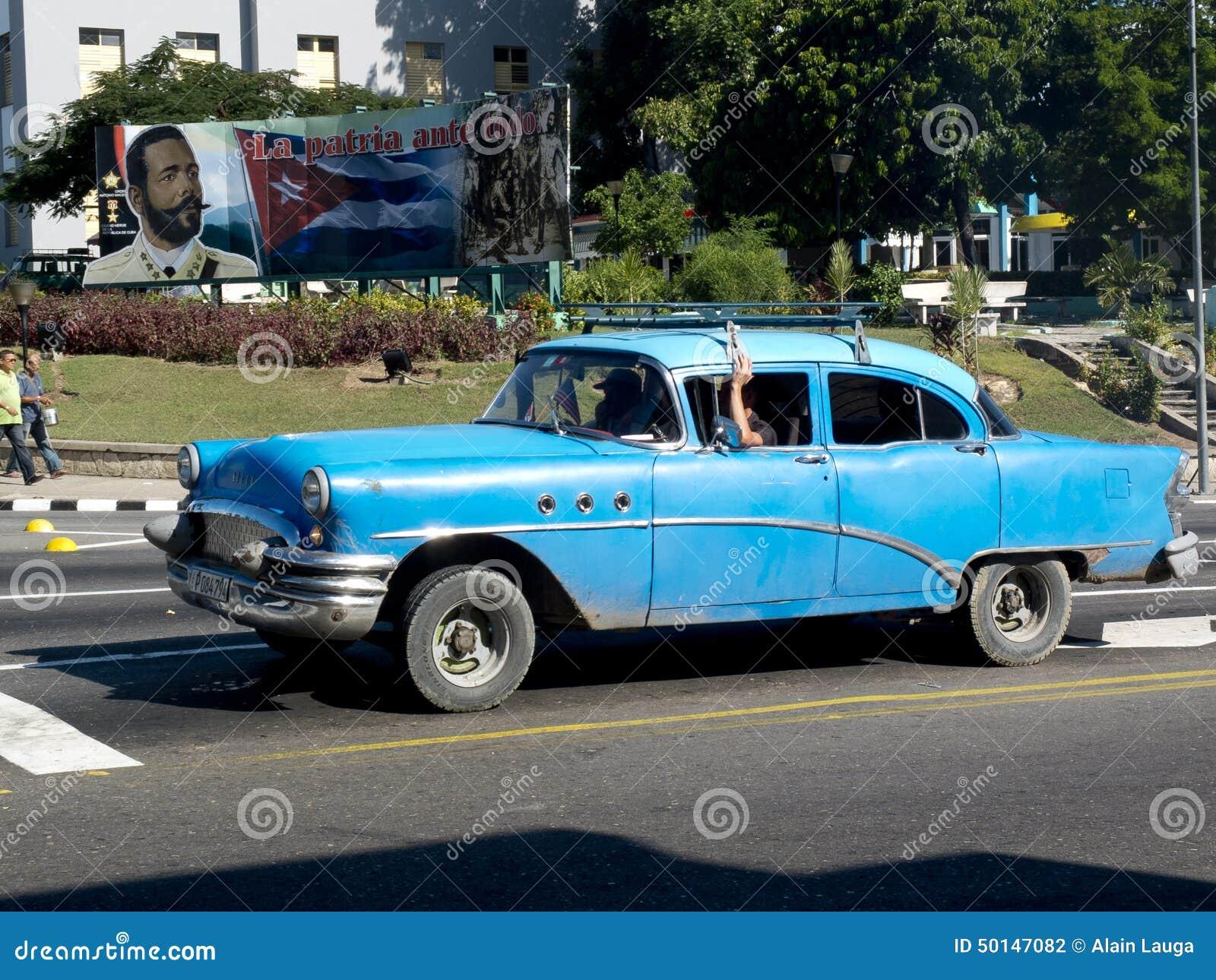 Cuba cuba november 29 an american vintage blue car in the center