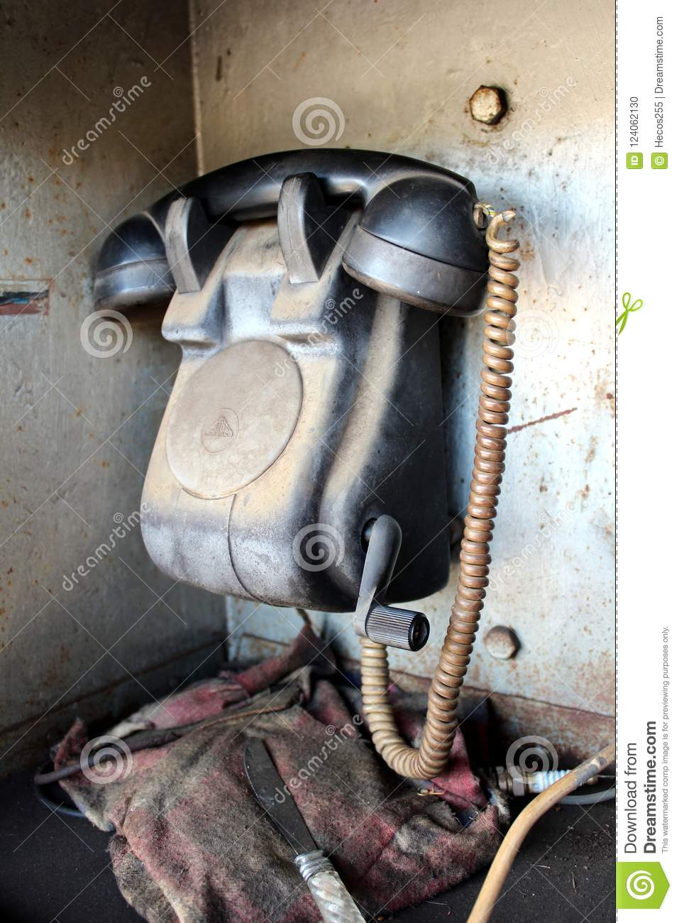 Retro Black Telephone Communication Device Used For Railway