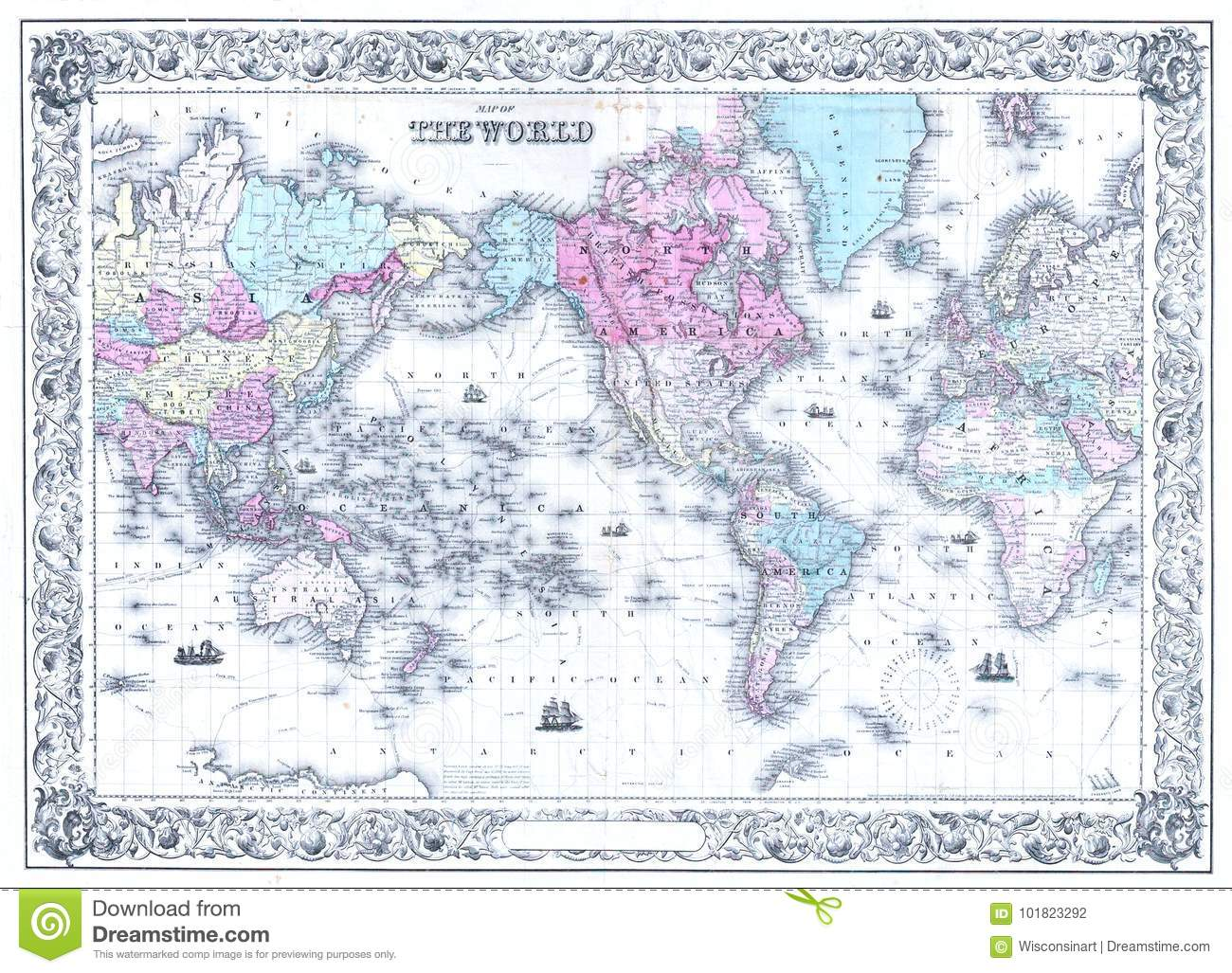 Retro Antique World Map Background