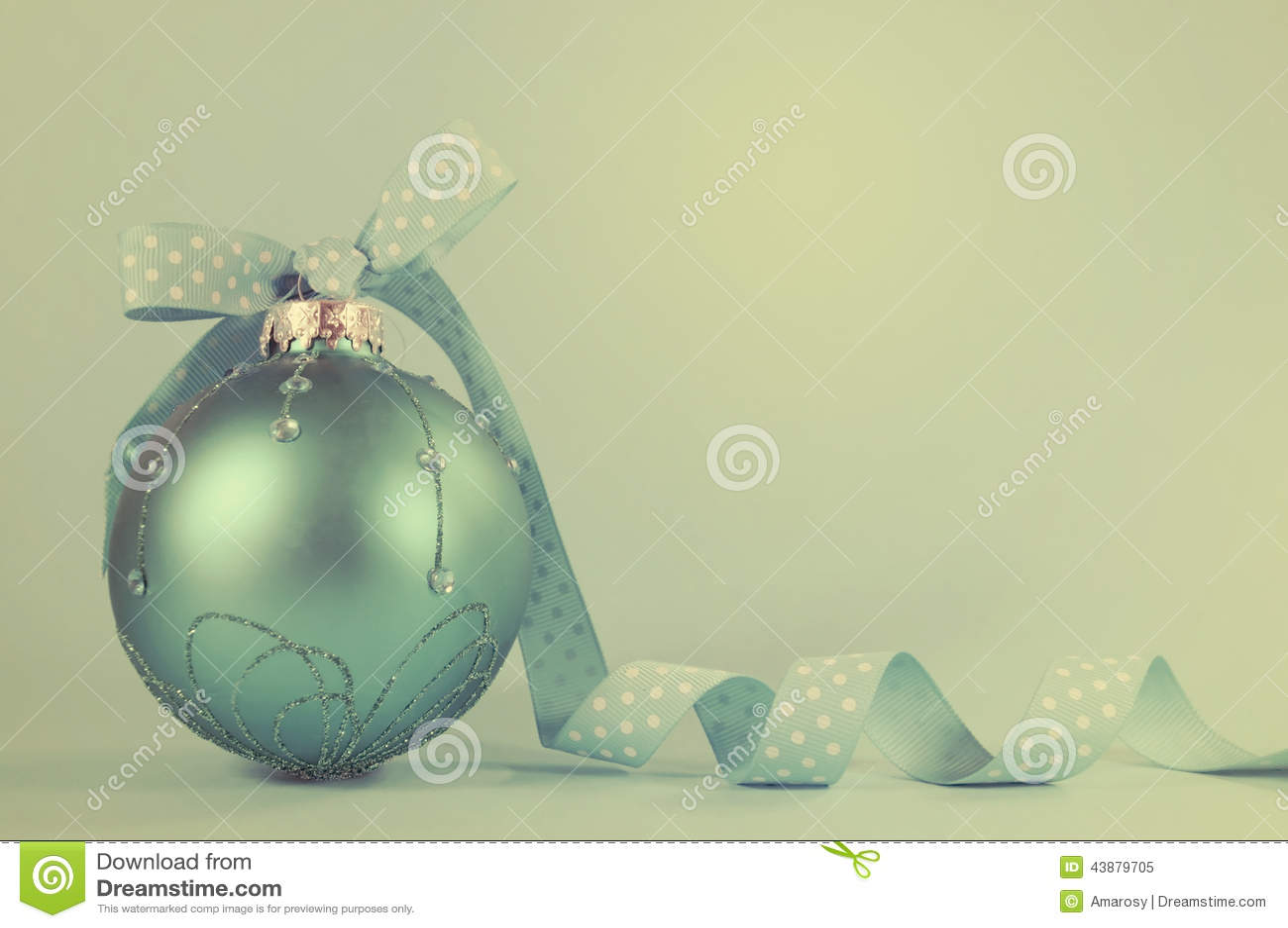 Retro Aqua Blue Christmas Tree Ornament Stock Photo - Image: 43879705