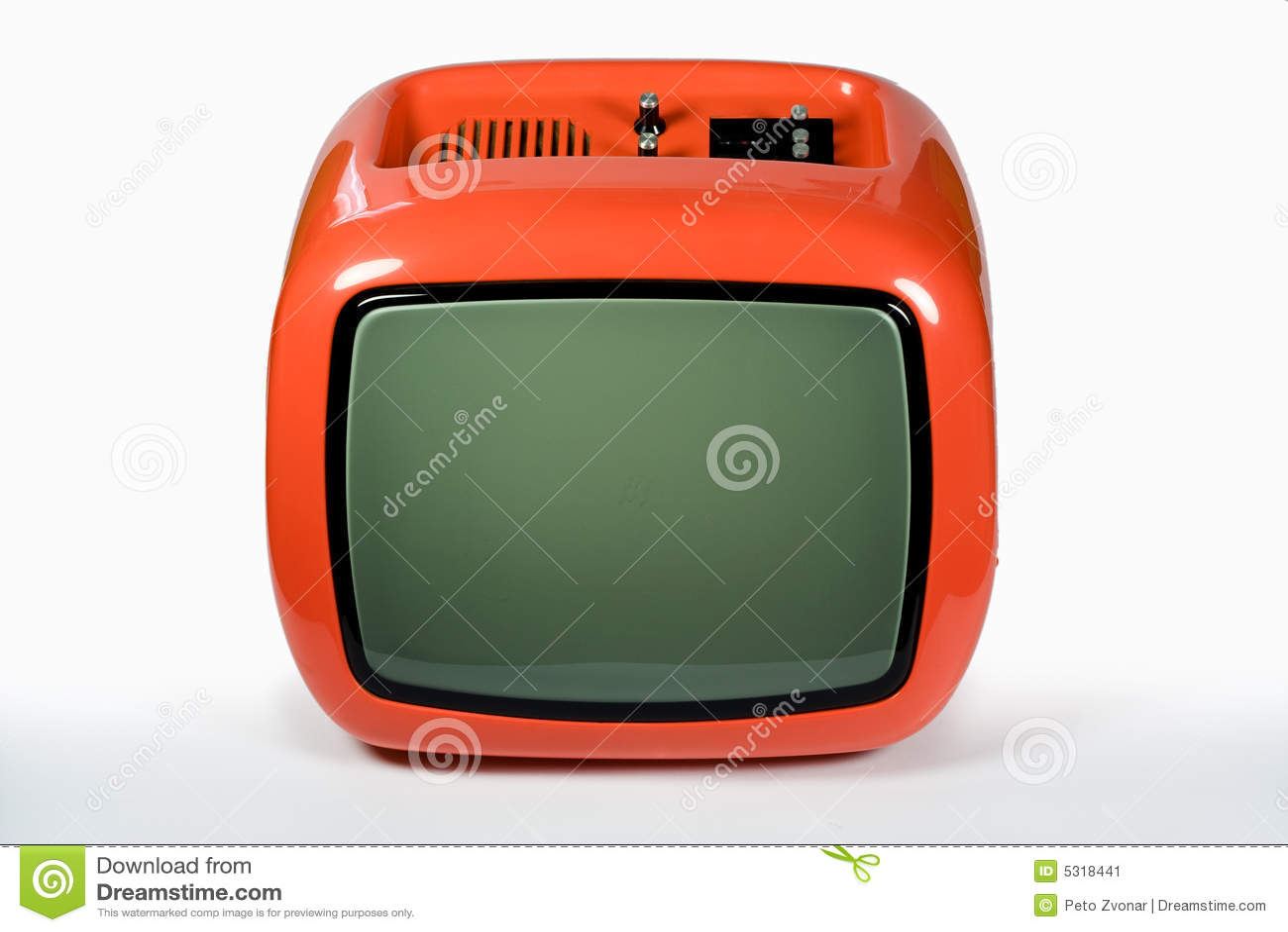 Download Retro arancio TV immagine stock. Immagine di adattato - 5318441