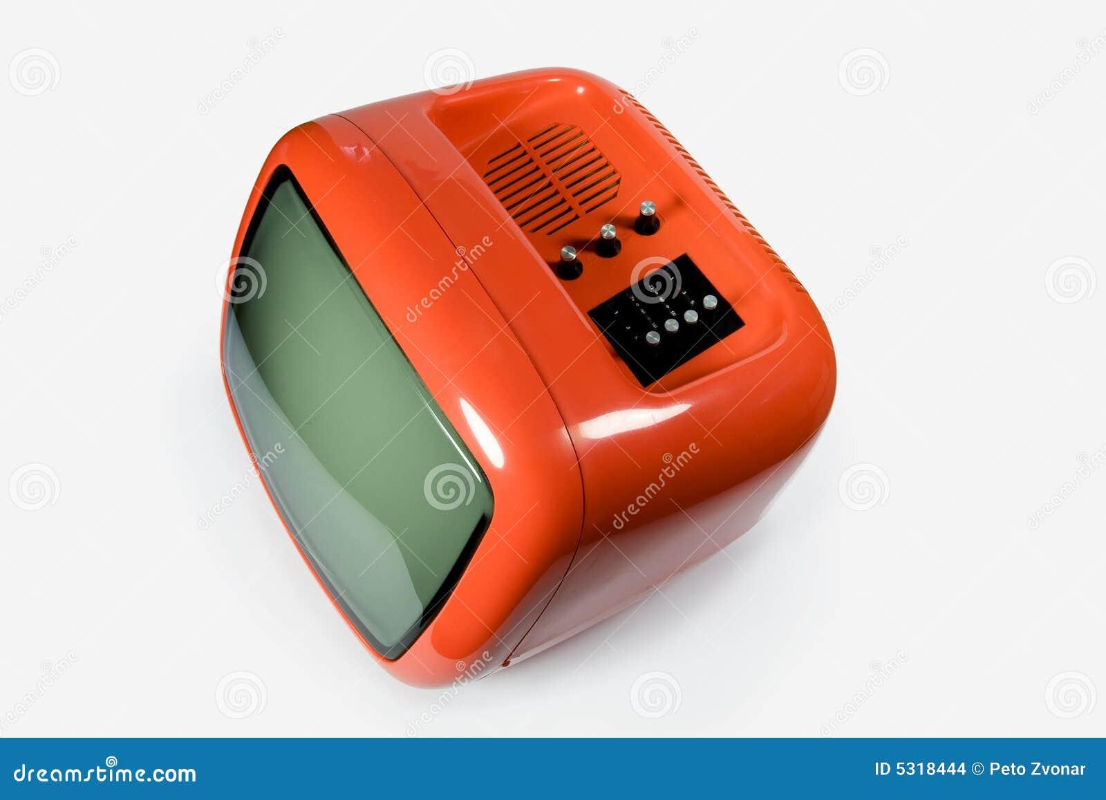Download Retro arancio TV fotografia stock. Immagine di casella - 5318444
