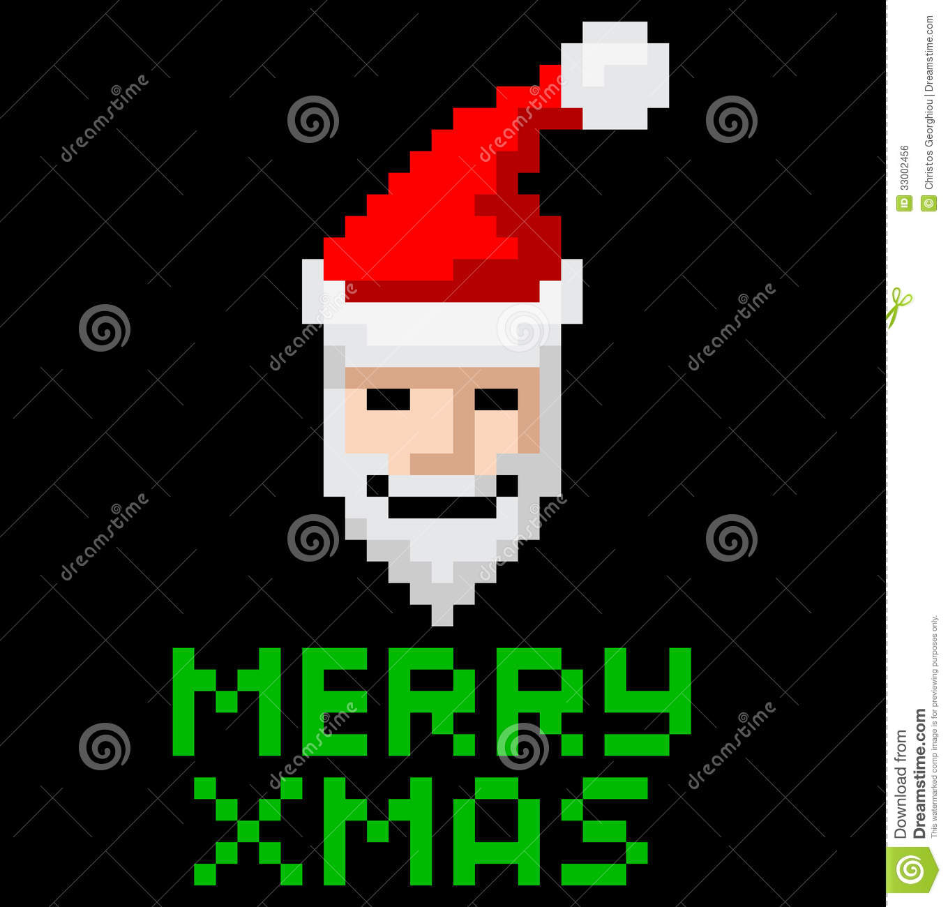 ... video game style pixel art Christmas Santa with Merry Xmas message