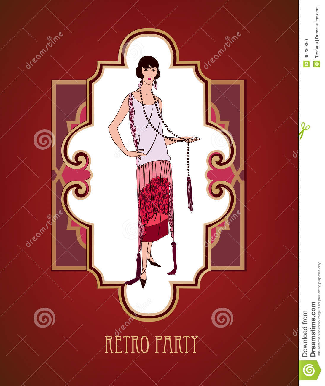 retro art deco background girl in 1930s fashion style stock vector image 40230850. Black Bedroom Furniture Sets. Home Design Ideas