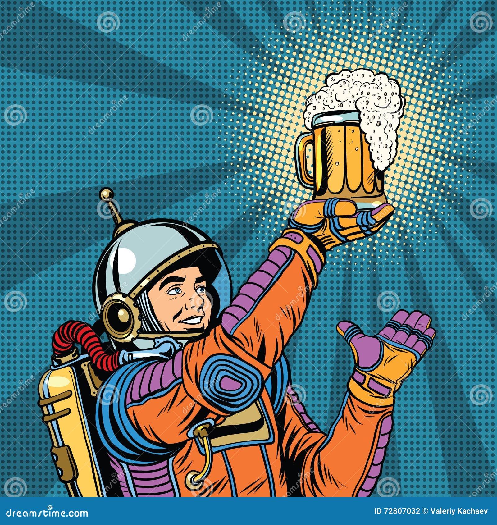 Retro astronaut en een mok bier