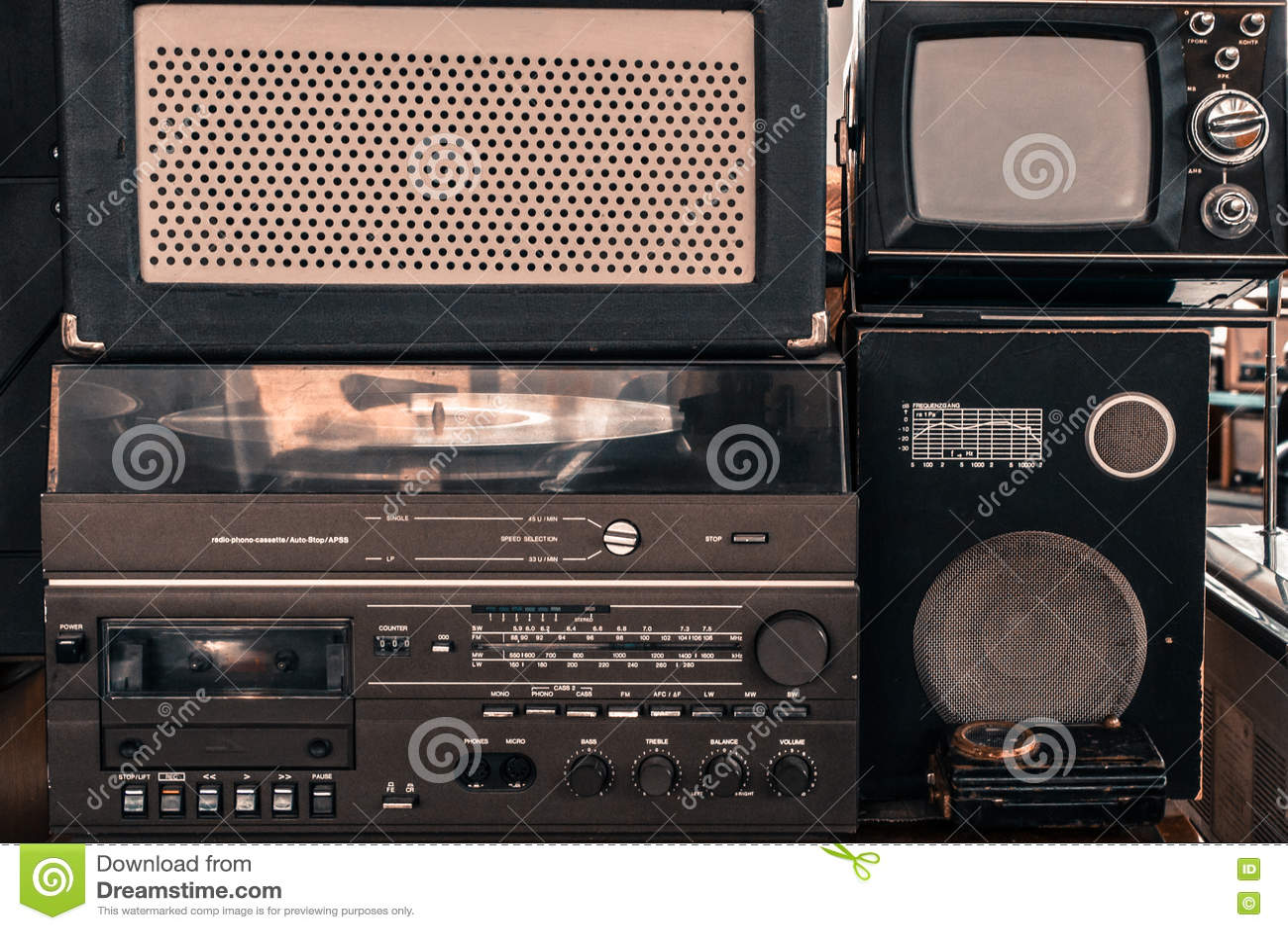 Retro audio system with radio, cassette tape recorder