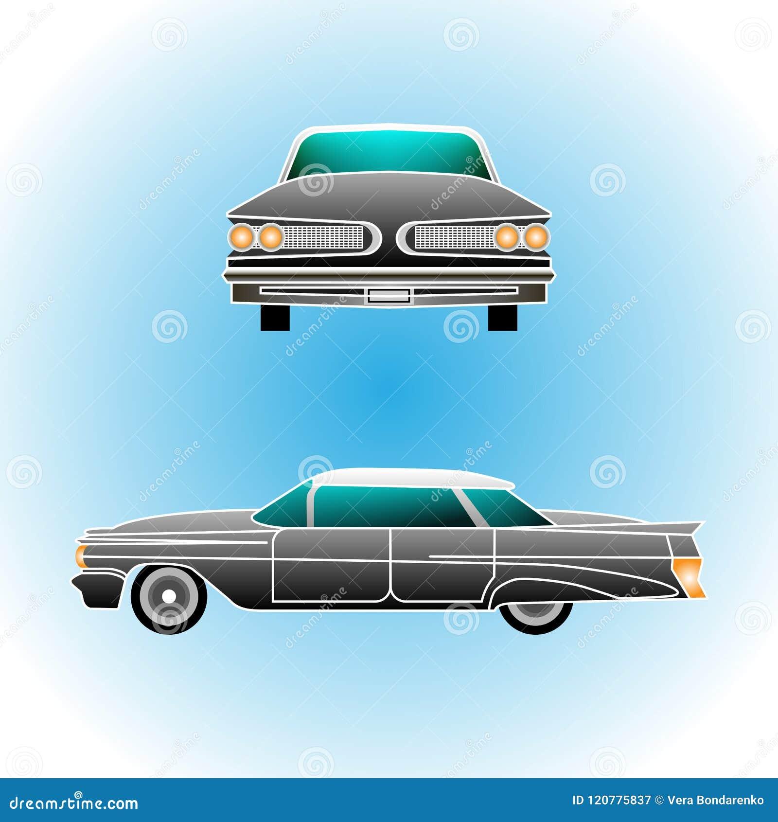Retro auto Convertibele wijnoogst Realistische stijl