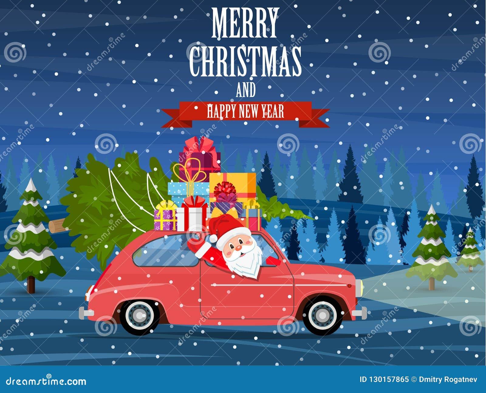 Auto Weihnachtsbaum.Retro Auto Mit Weihnachtsbaum Vektor Abbildung Illustration Von