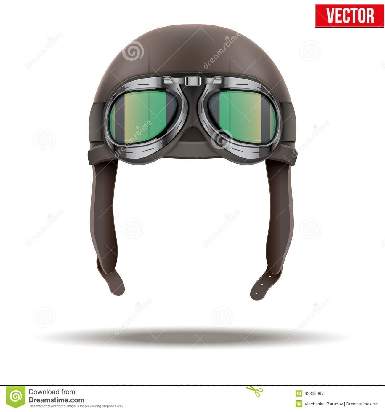 Retro aviator pilot leather helmet with goggles. Vintage object. Vector  Illustration. on white. 6fb51837024