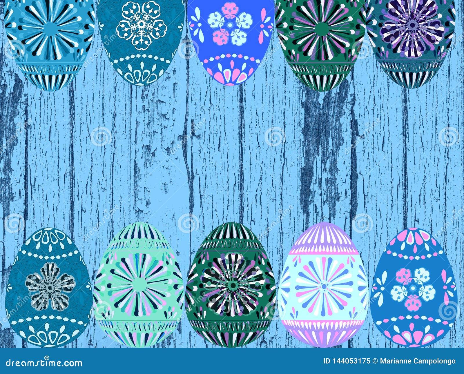 Retro błękitna drewnianych i Wielkanocnych jajek tła tekstura