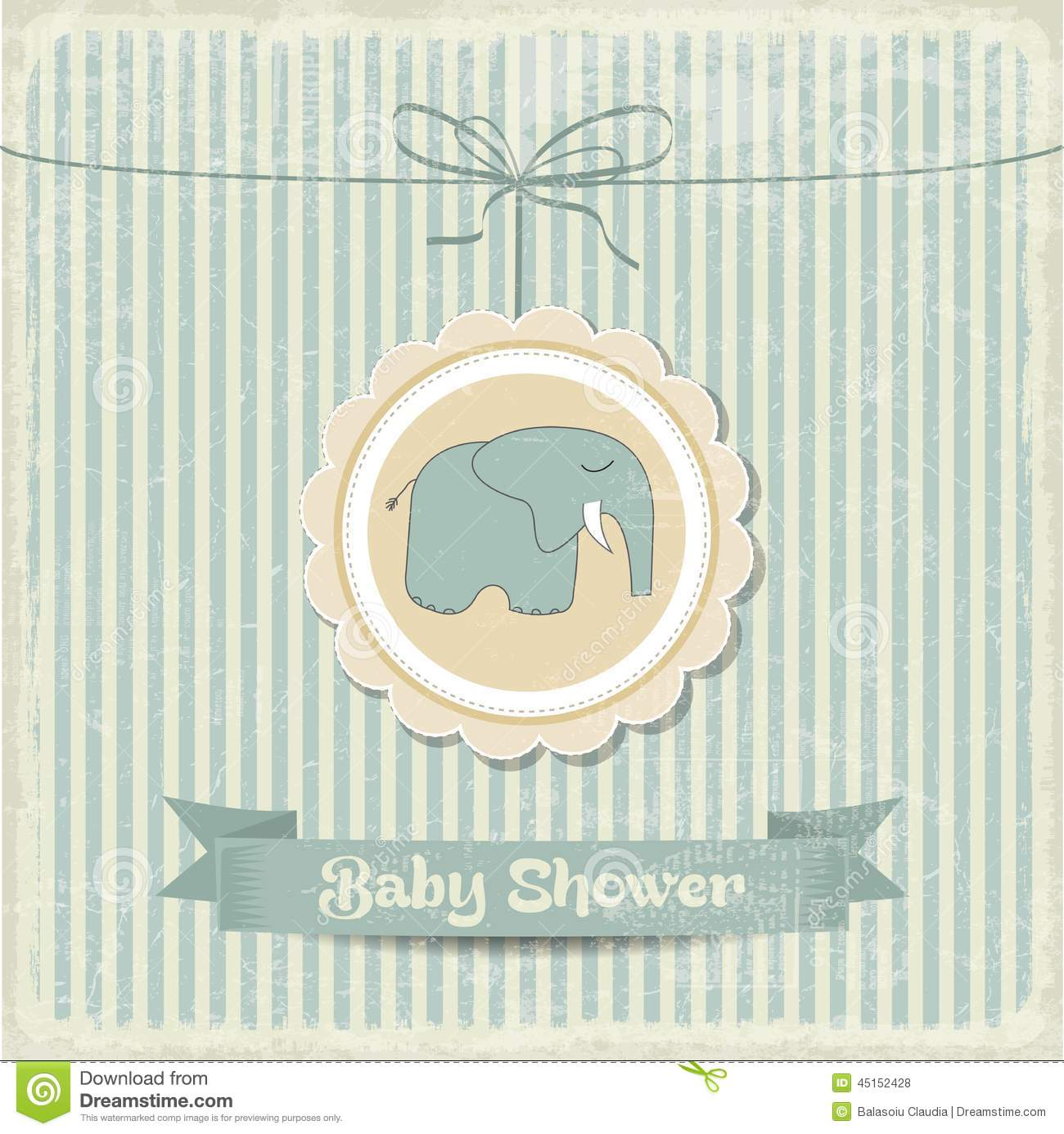 retro baby shower card with little elephant stock vector