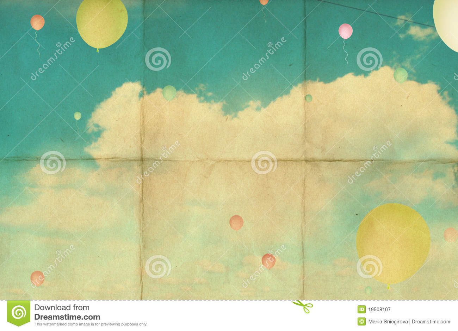 Retro background with sky