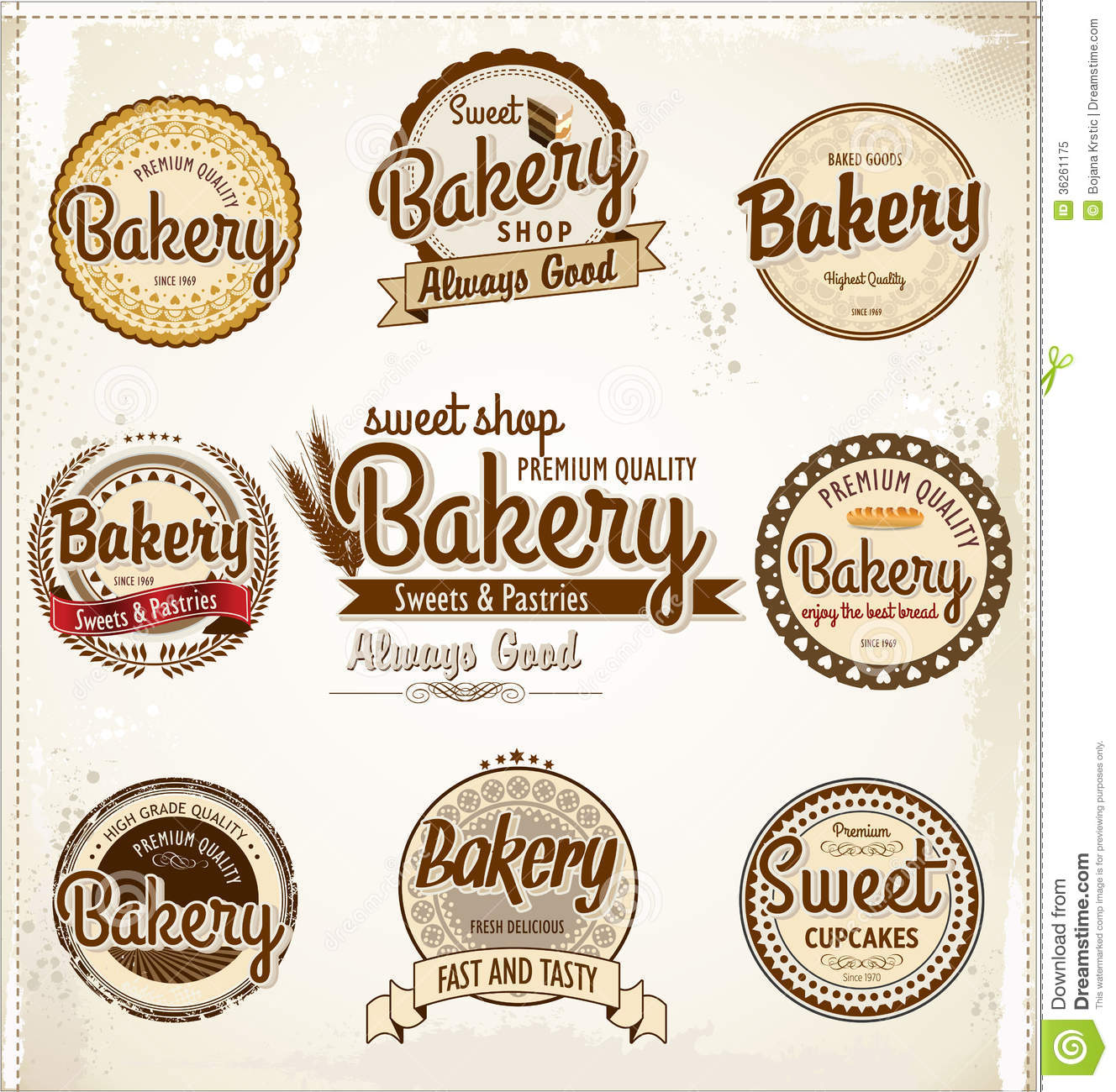Retro Bakery Badges And Labels Royalty Free Stock Photo