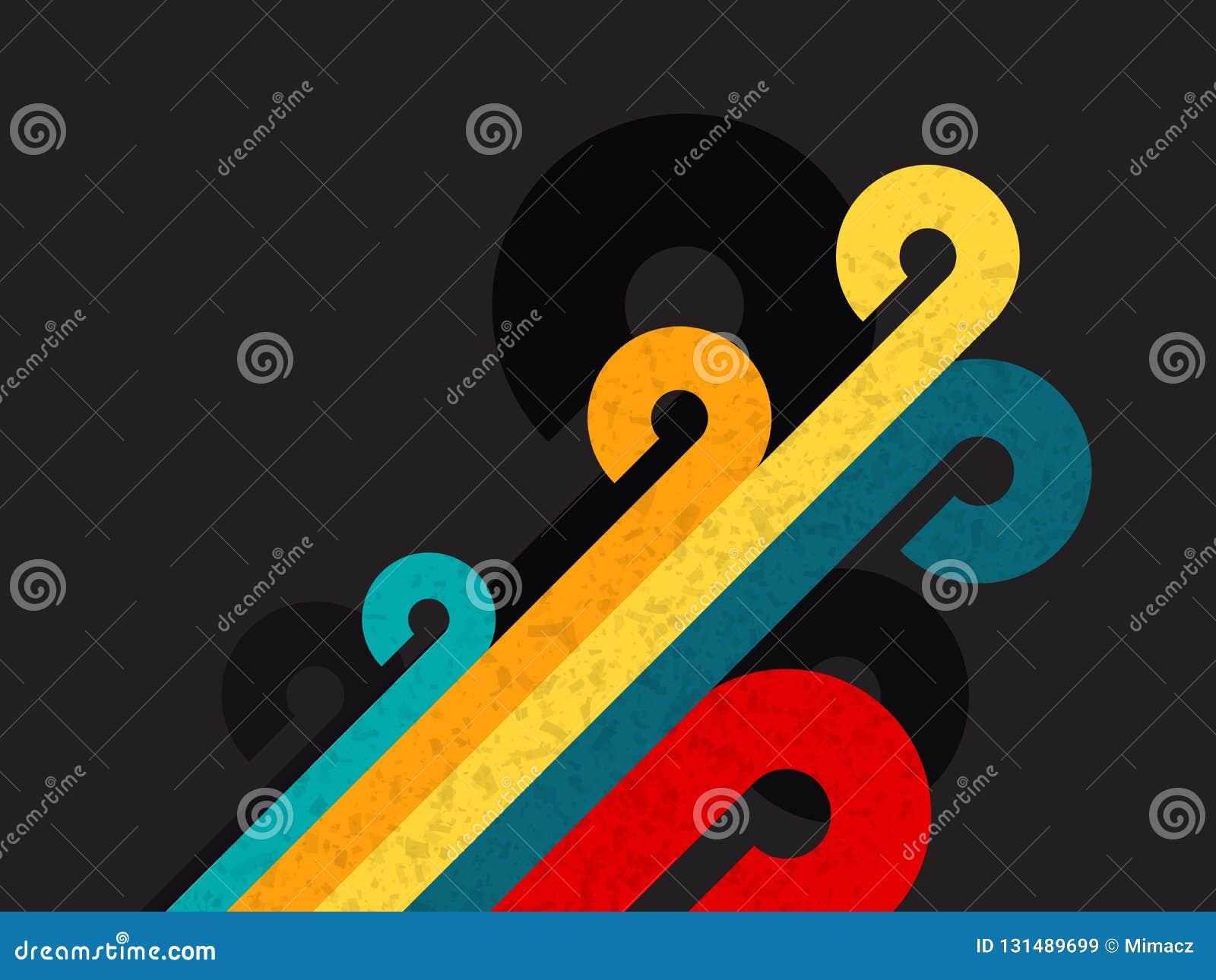 Retro bakgrund för abstrakt färg med cirkeln och linjen