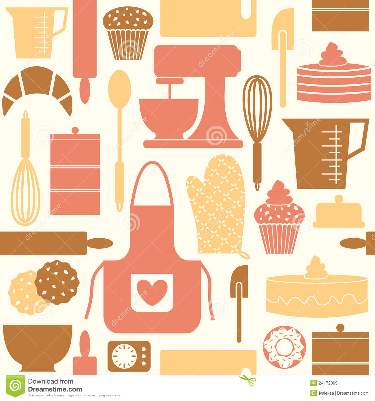 Retro Baking Background Seamless Pattern With Kitchen Utensils And Items In Style Stock