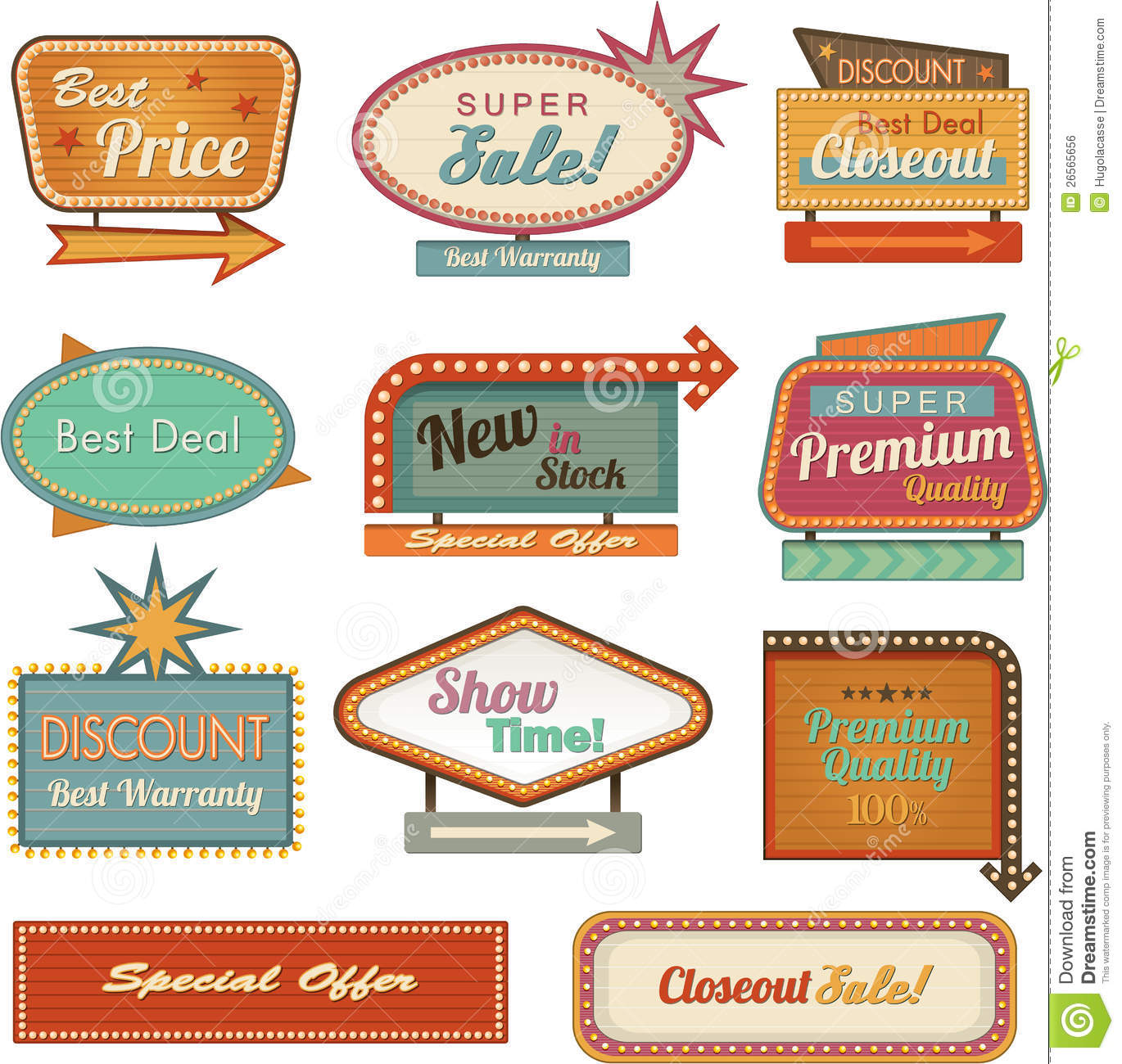 Retro Banner Sign Ad Collection Royalty Free Stock Image