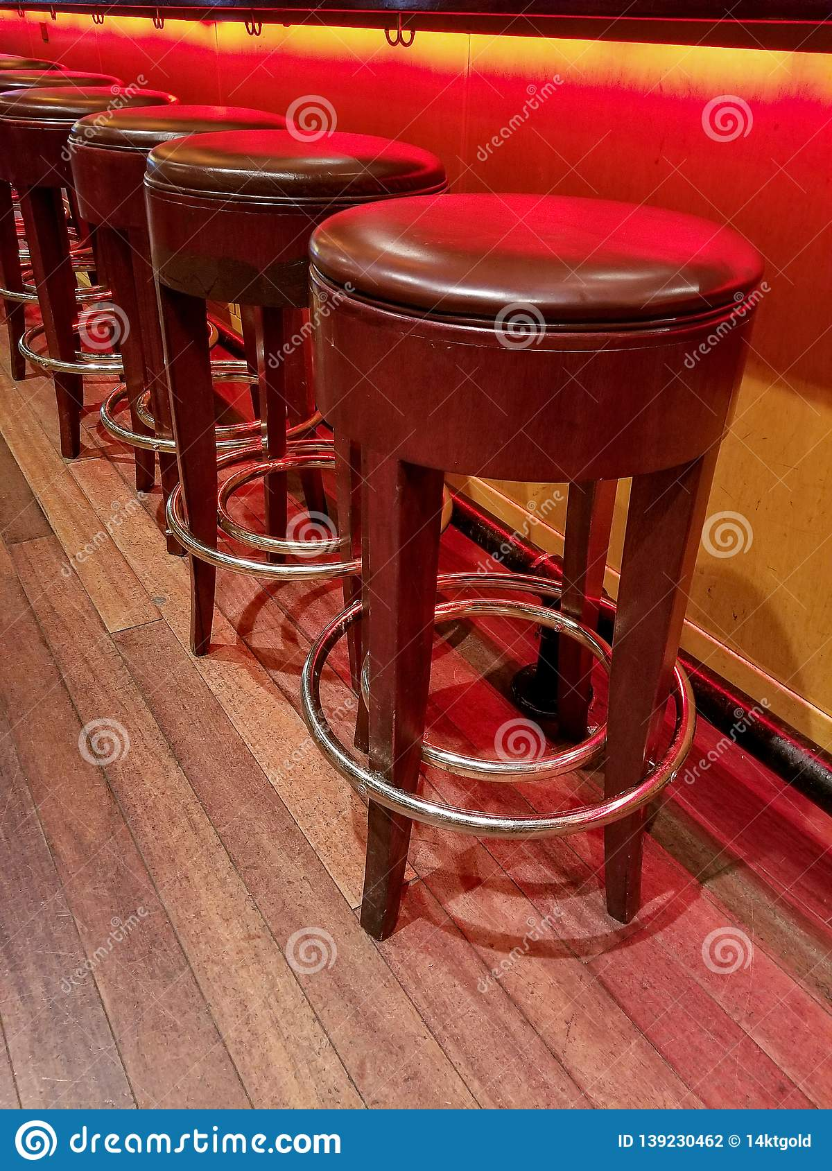 Sensational Retro Bar Stools With Glowing Neon Light Stock Photo Image Pdpeps Interior Chair Design Pdpepsorg