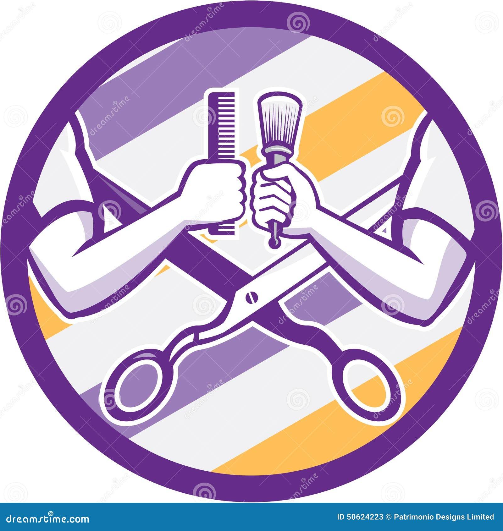 Retro Barber Hand Comb Brush Scissors cirkel