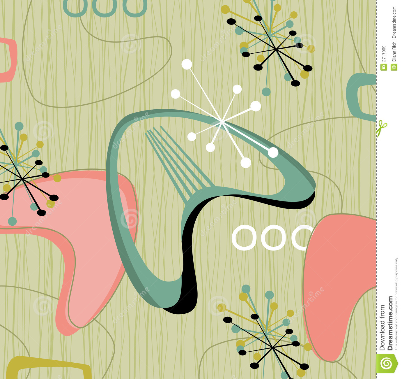 Retro barkcloth fabric-inspired design with stars and boomerangs. Each ...