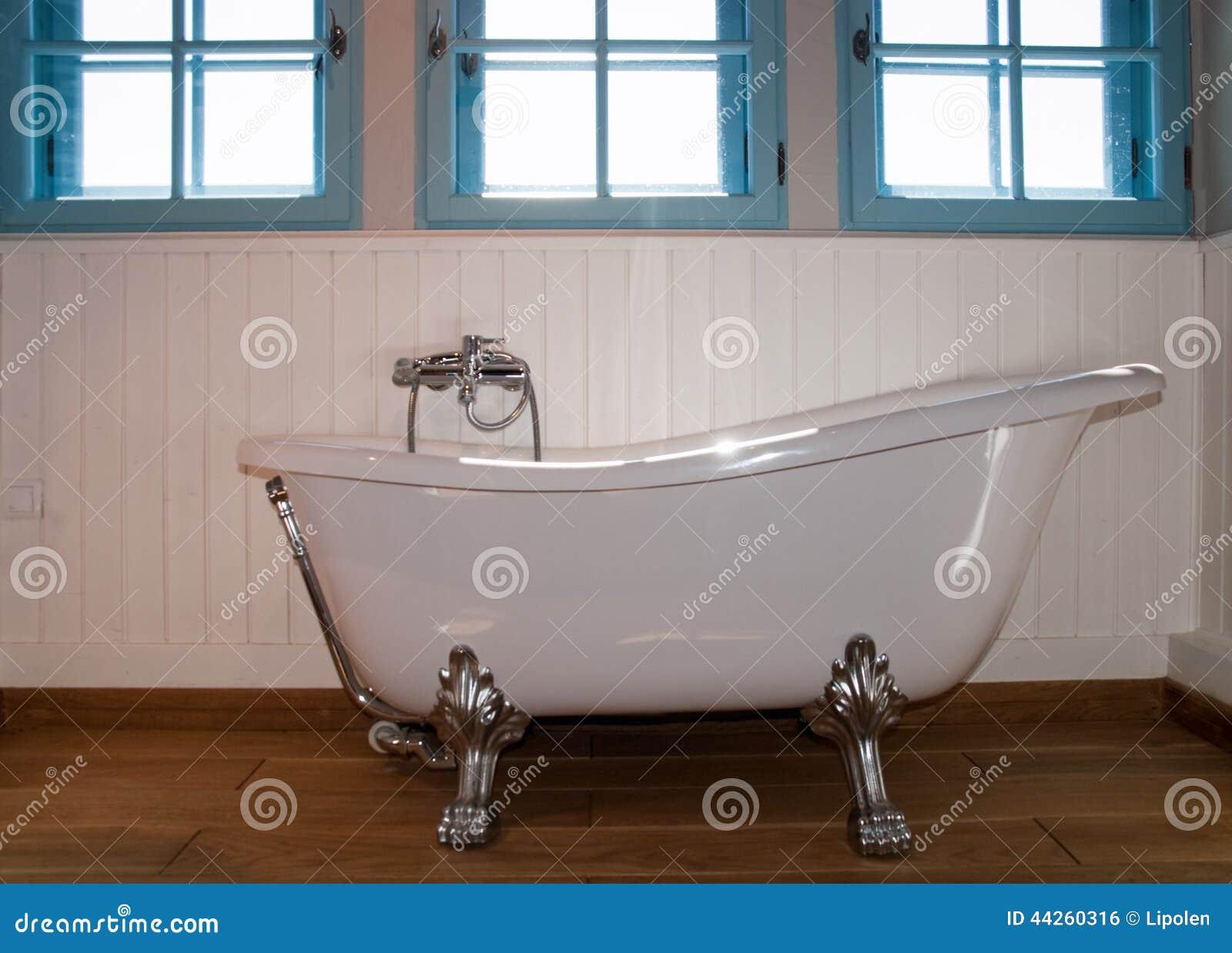 Retro Bath Stock Photo Image Of Blue Paneling Room 44260316