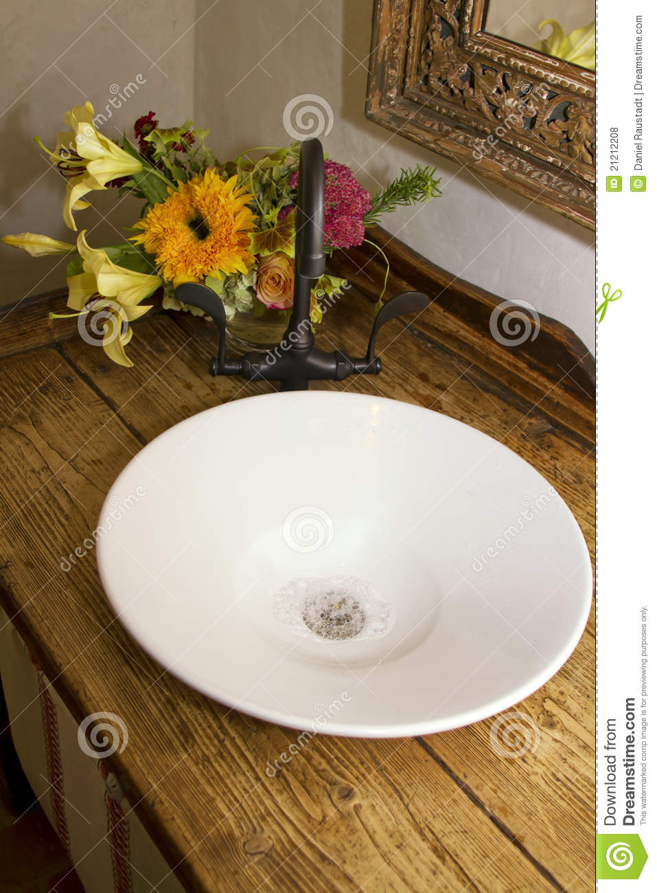 Picture of: Retro Bathroom Bowl Sink Faucet And Counter Stock Photo Image Of Cabinet Basin 21212208