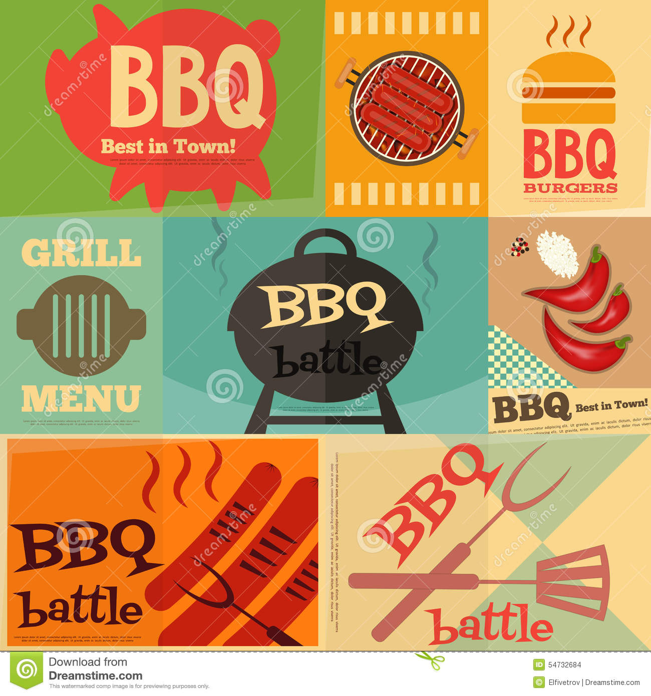 retro bbq posters collection stock vector illustration of