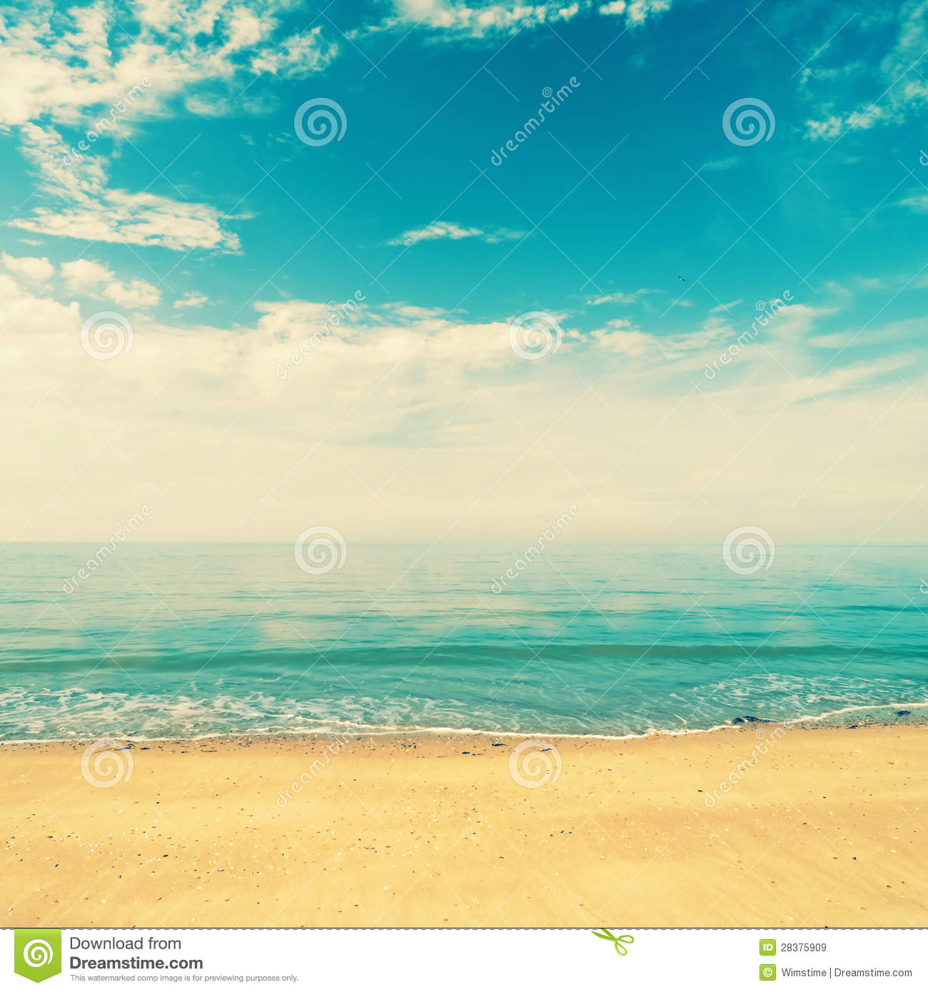 Beautiful Vintage Summer Seaside Illustration Royalty Free: Retro Beach Stock Image. Image Of Summer, Blue, Ocean