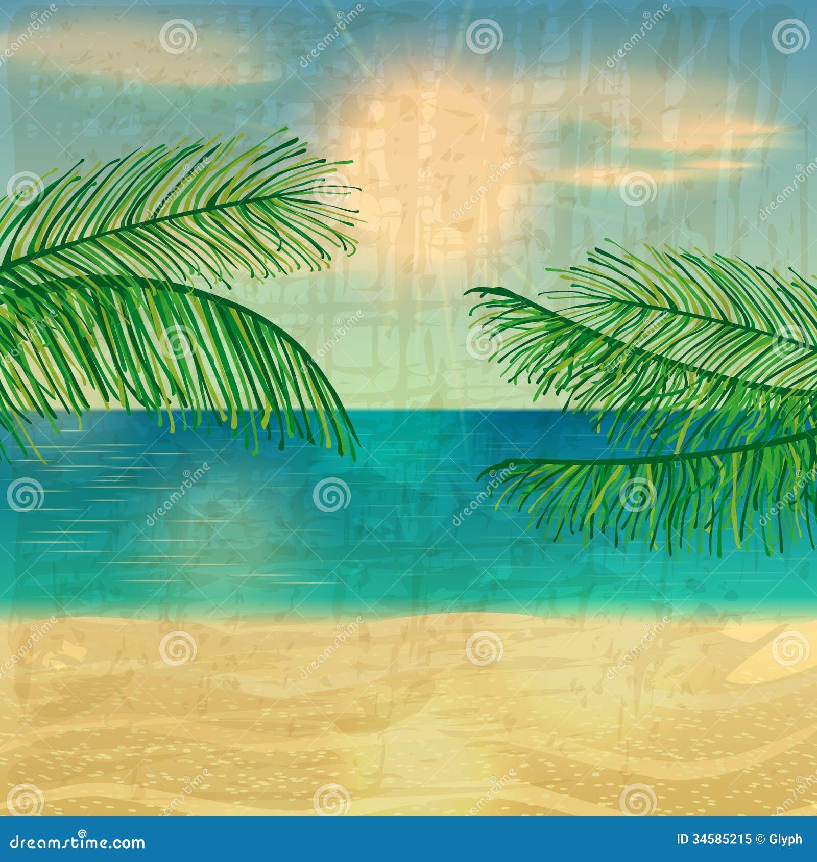 Vintage Beach Background Stock Photo 112981333: Retro Beach Illustration Royalty Free Stock Photo