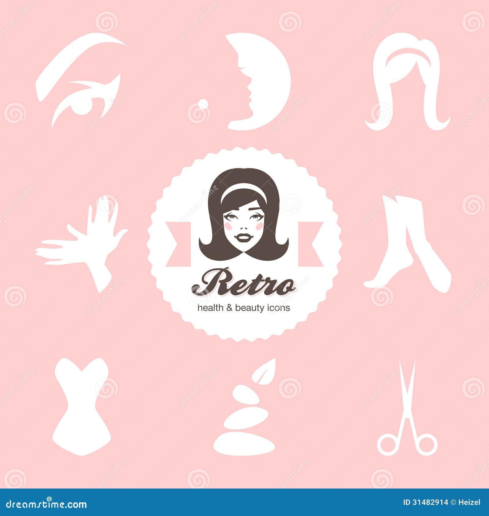 Retro beauty salon icons stock vector illustration of for 1950 s beauty salon