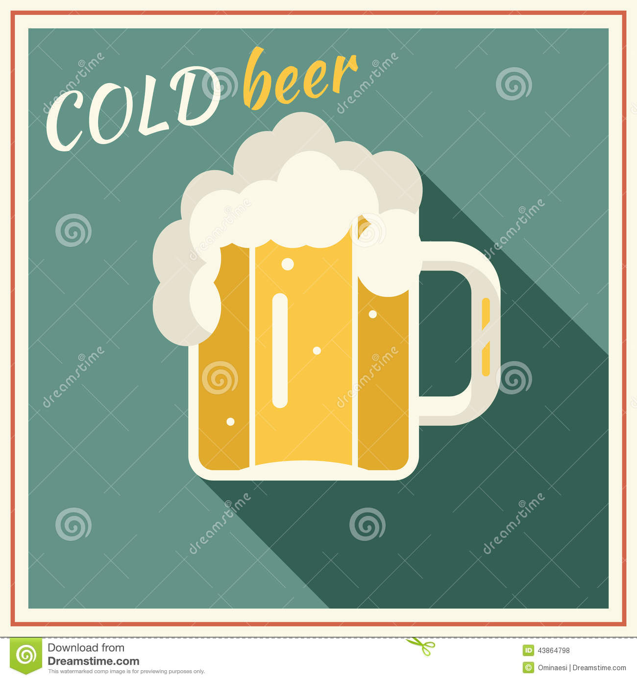 Retro Beer Mug With Foam Symbol Alcohol Vector Stock