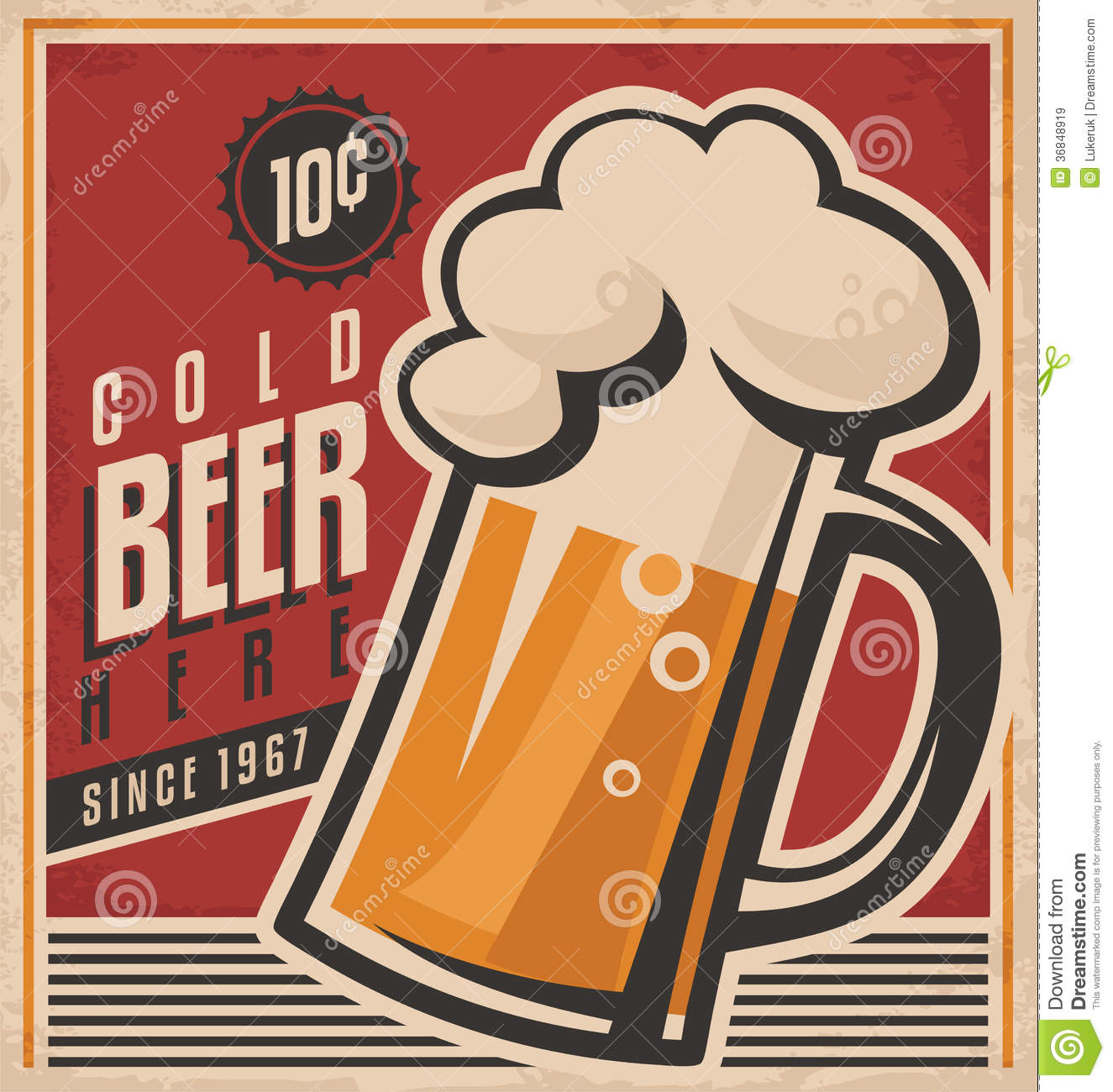 retro beer vector poster royalty free stock images   image