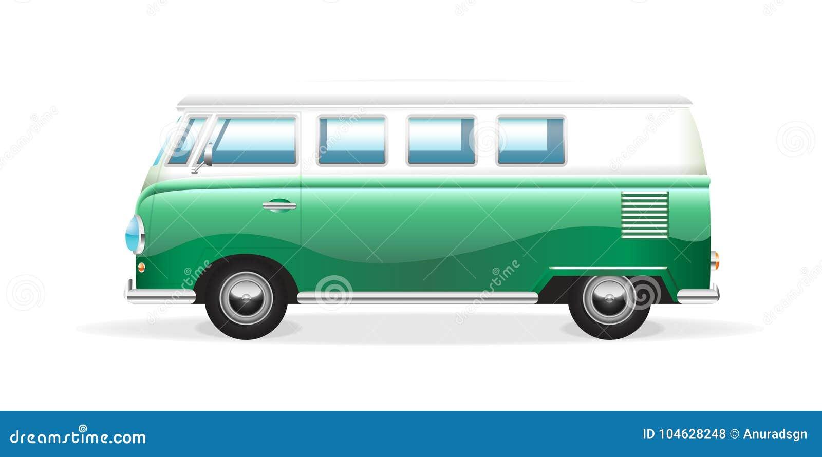 Download Retro Bestelwagen Op Witte Achtergrond Vector Illustratie - Illustratie bestaande uit reis, vervoer: 104628248