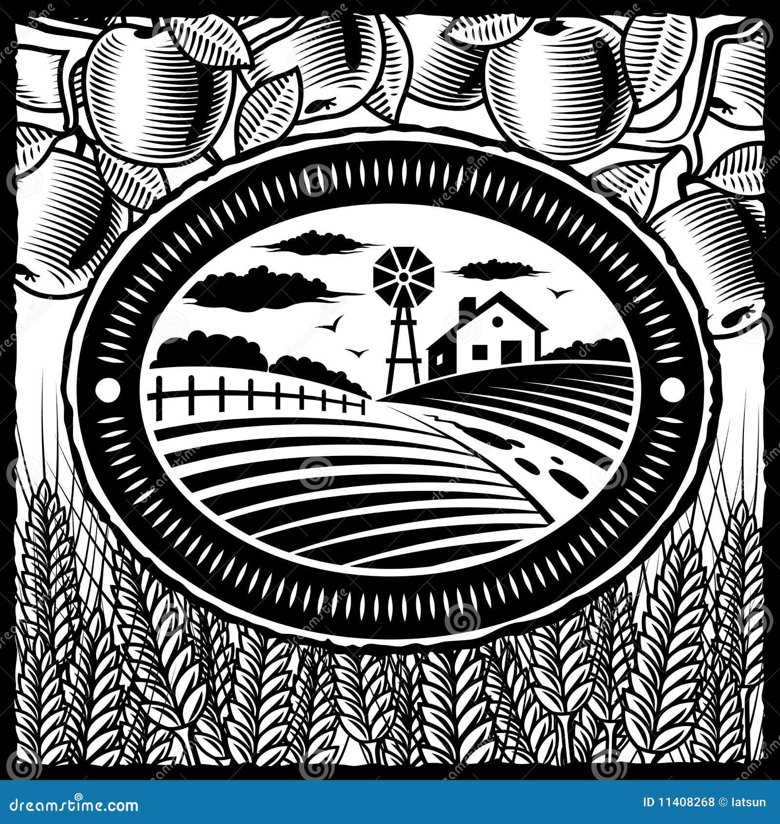 Retro bianco dell azienda agricola nera