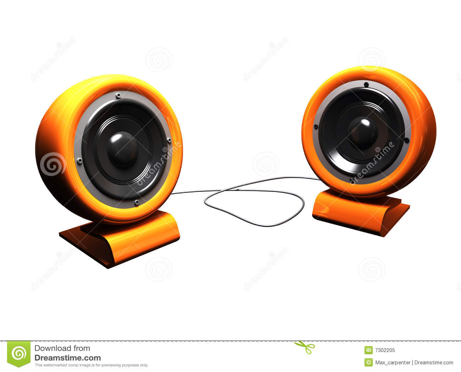 Retro bianco eccessivo arancione degli altoparlanti stereo 3d
