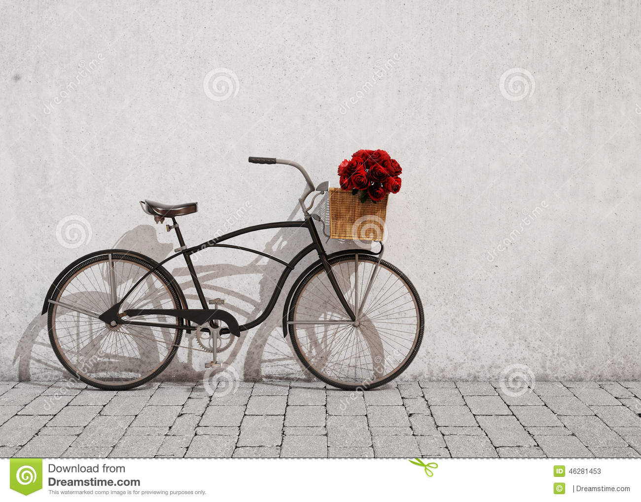83adbb645d3 Retro black bicycle with basket and flowers in front of the old plaster  wall, red roses in basket, background