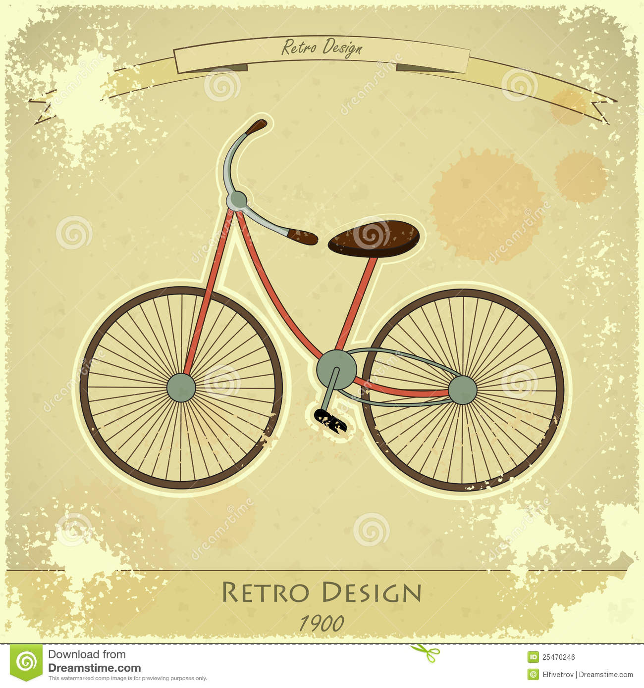 Retro Bicycle Card Stock Vector Illustration Of Wheel 25470246