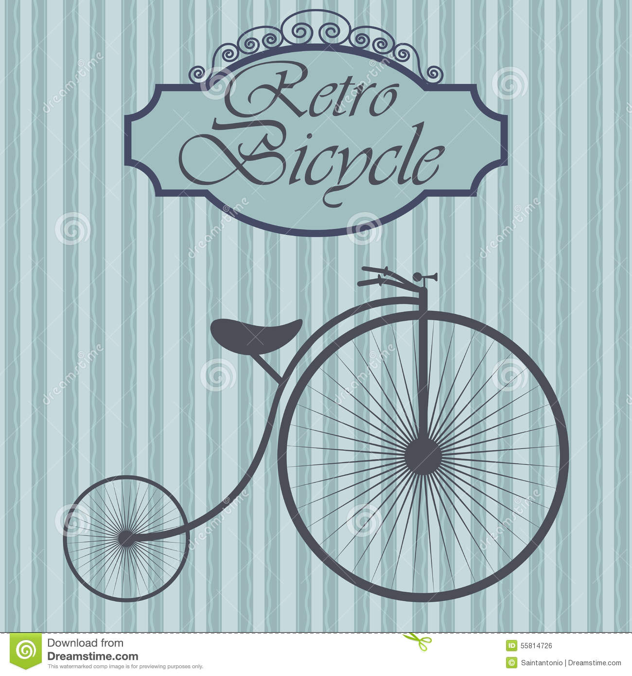 Old-fashioned Bicycle Drawing Vector Illustration ...