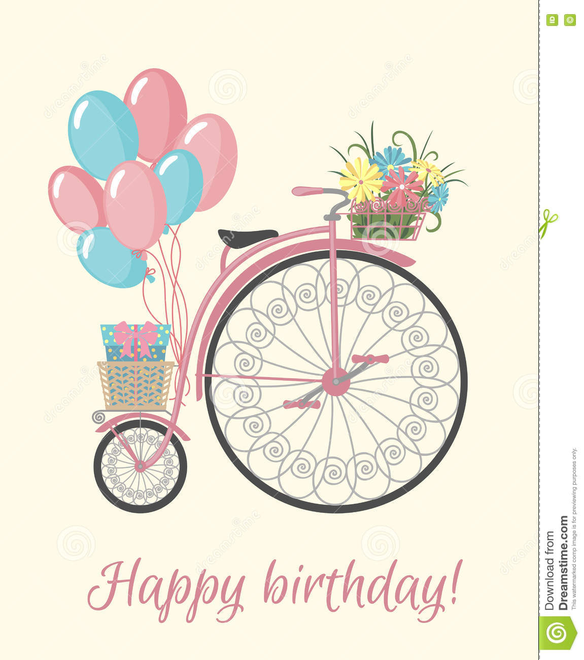 Retro Bicycle Style With Flowers And Balloons