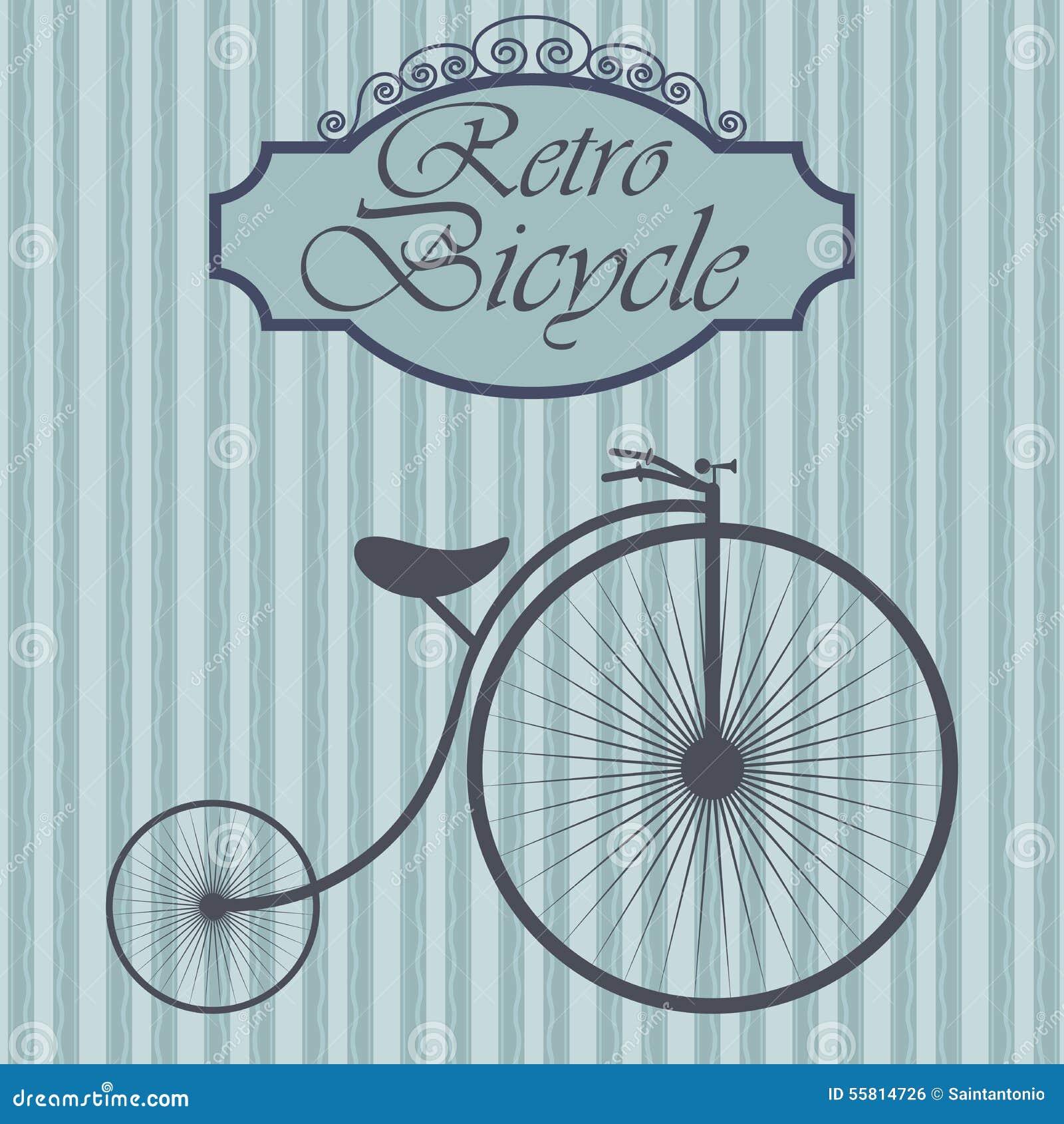 Retro bicykl na modnisia tle Rocznika znaka projekt Stara moda tematu etykietka