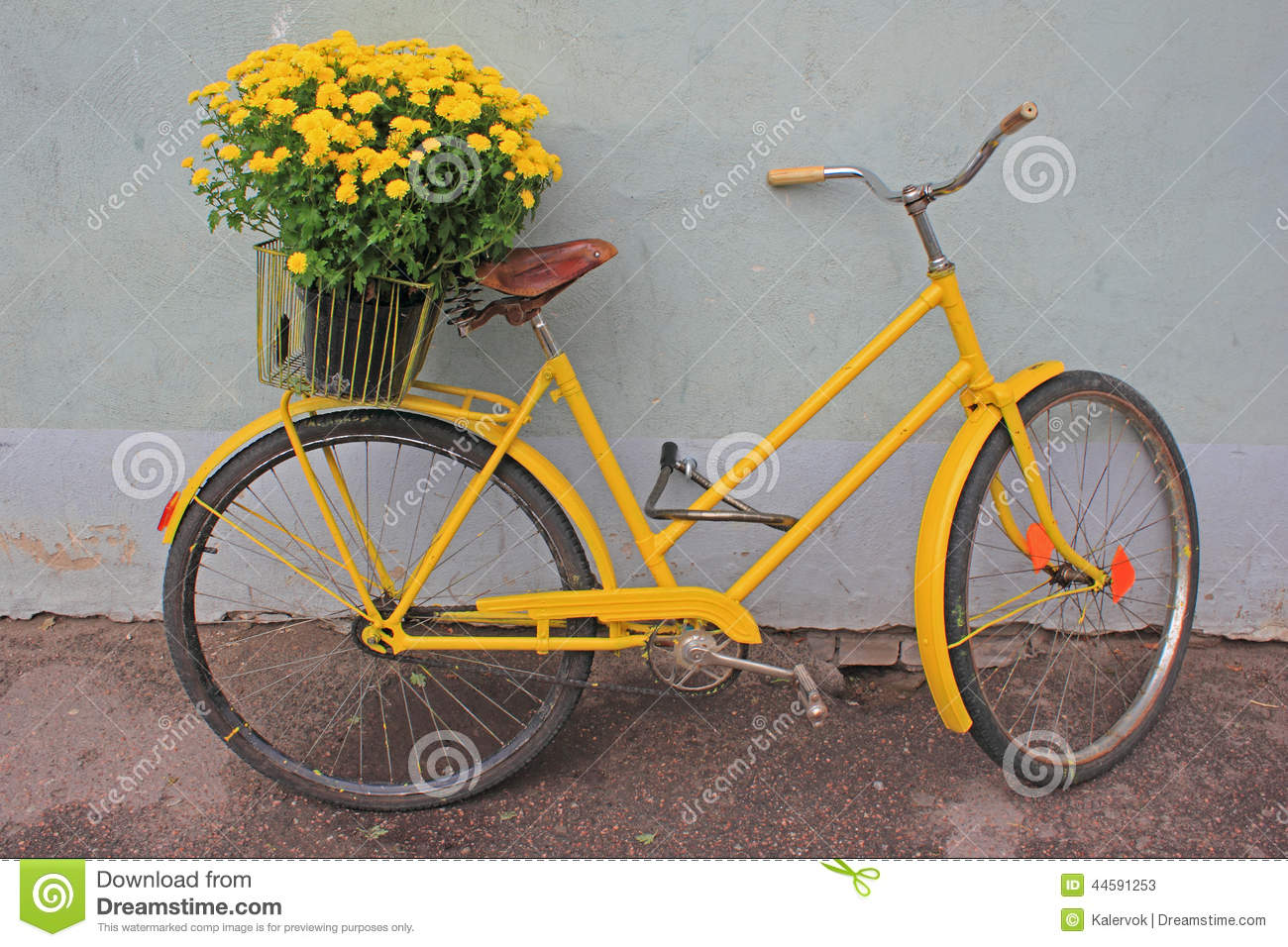 Retro Bike With Flowers Stock Image Image Of Town Bikeantique