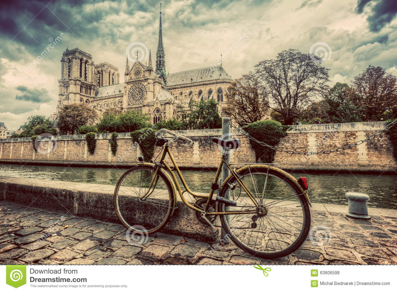Retro bike next to notre dame cathedral in paris france - Retro vintage ...